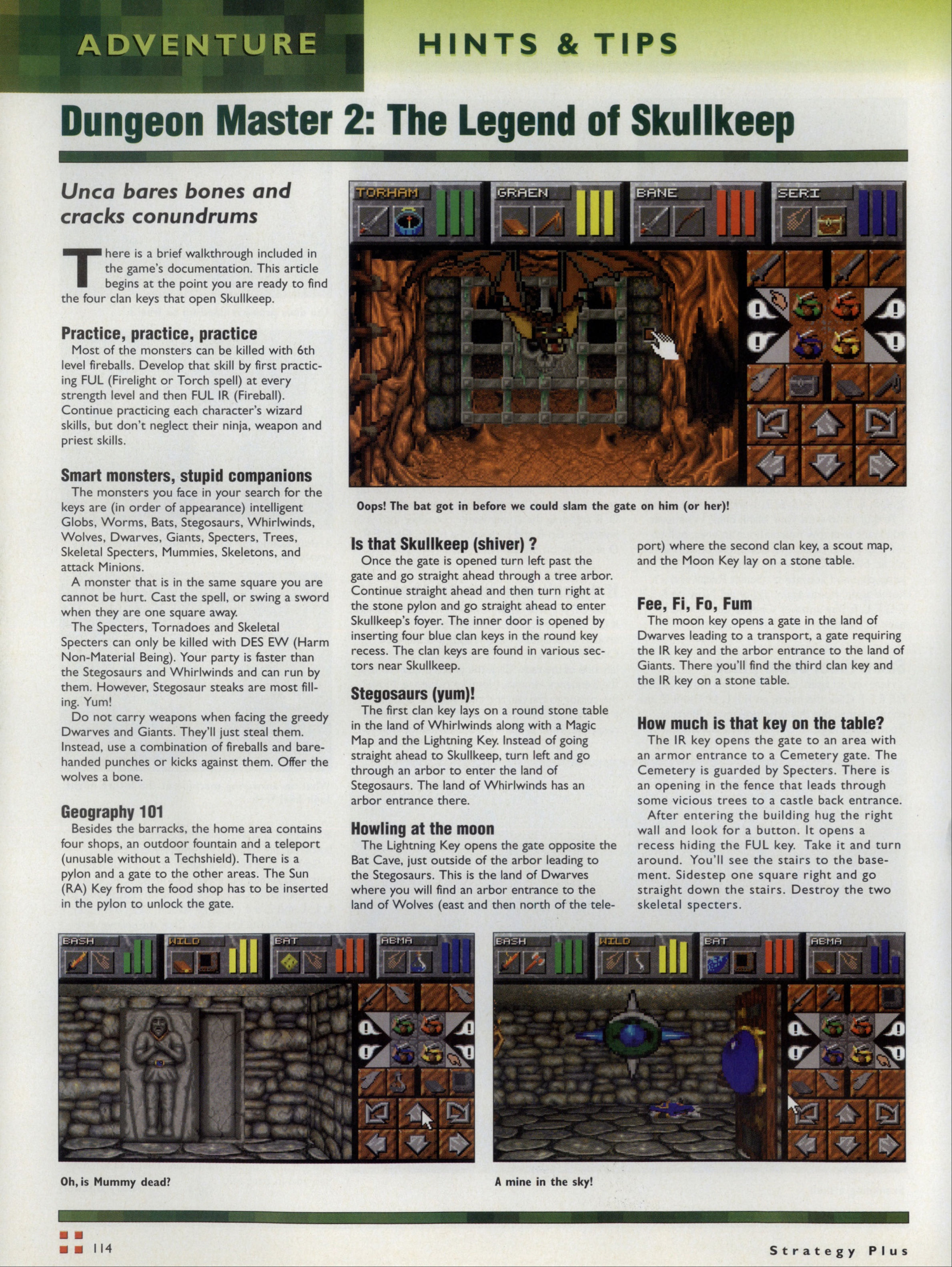 Dungeon Master II Hints published in British-American-Canadian magazine 'Computer Games Strategy Plus', Issue #60 November 1995, Page 114