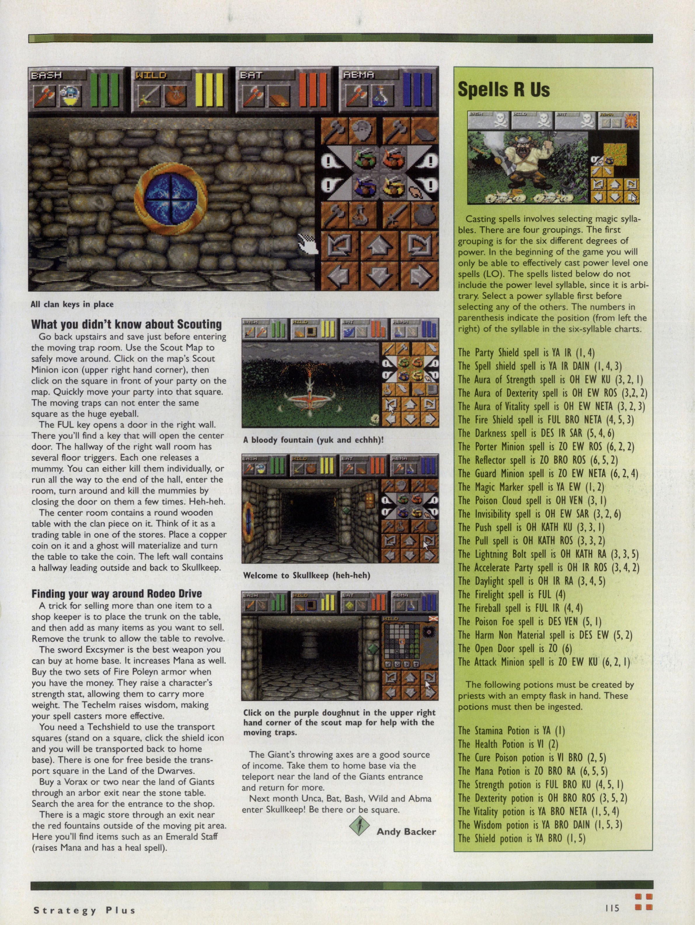 Dungeon Master II Hints published in British-American-Canadian magazine 'Computer Games Strategy Plus', Issue #60 November 1995, Page 115