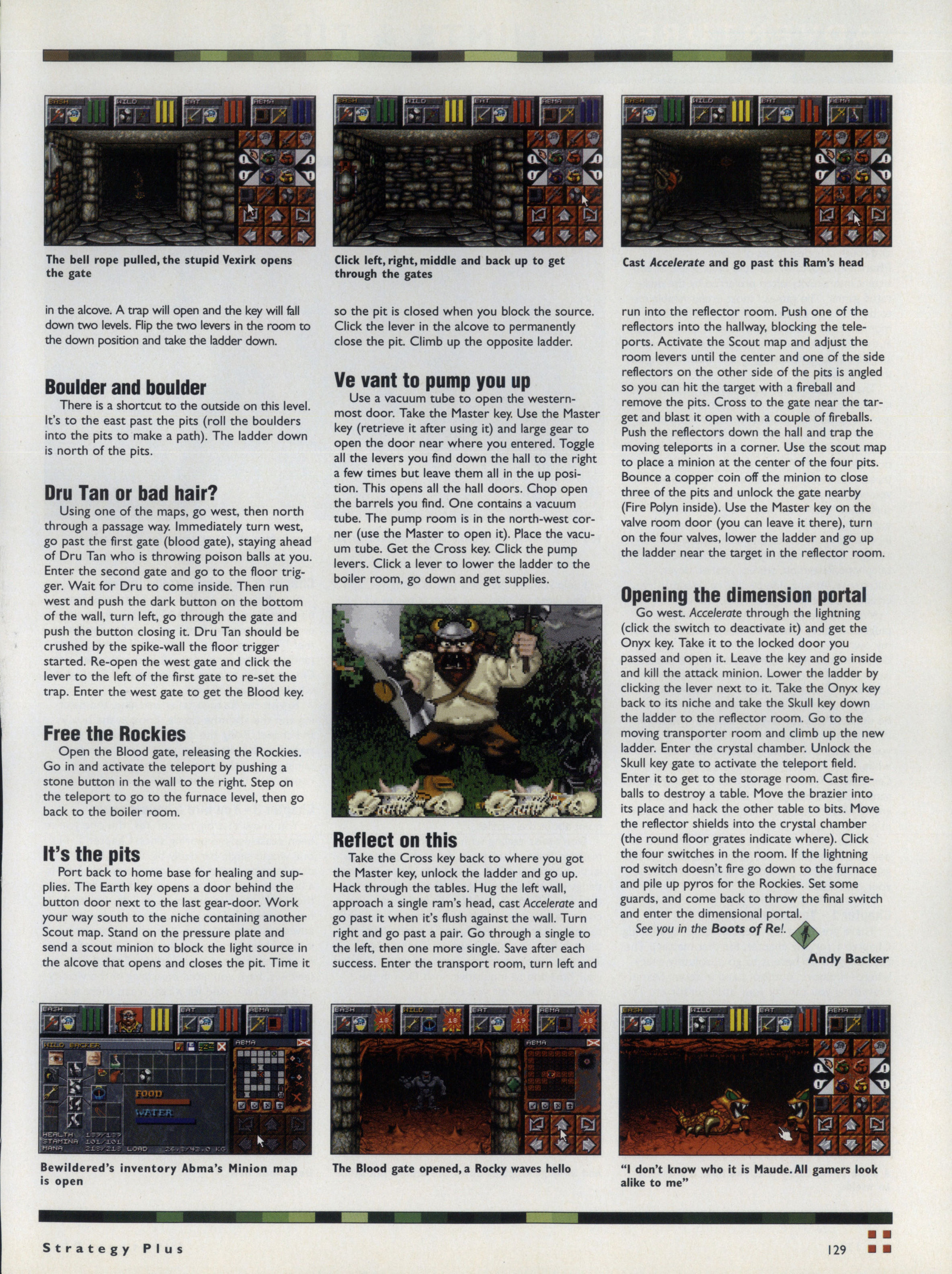 Dungeon Master II Hints published in British-American-Canadian magazine 'Computer Games Strategy Plus', Issue #61 December 1995, Page 129