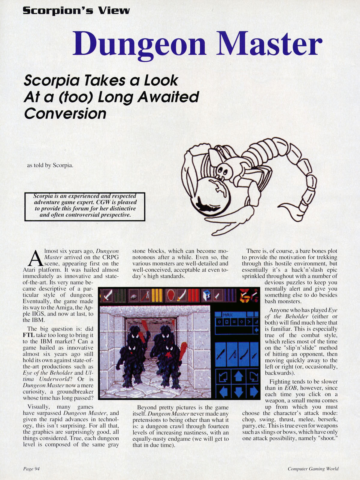 Dungeon Master for PC Review published in American magazine 'Computer Gaming World', Issue #100 November 1992, Page 94