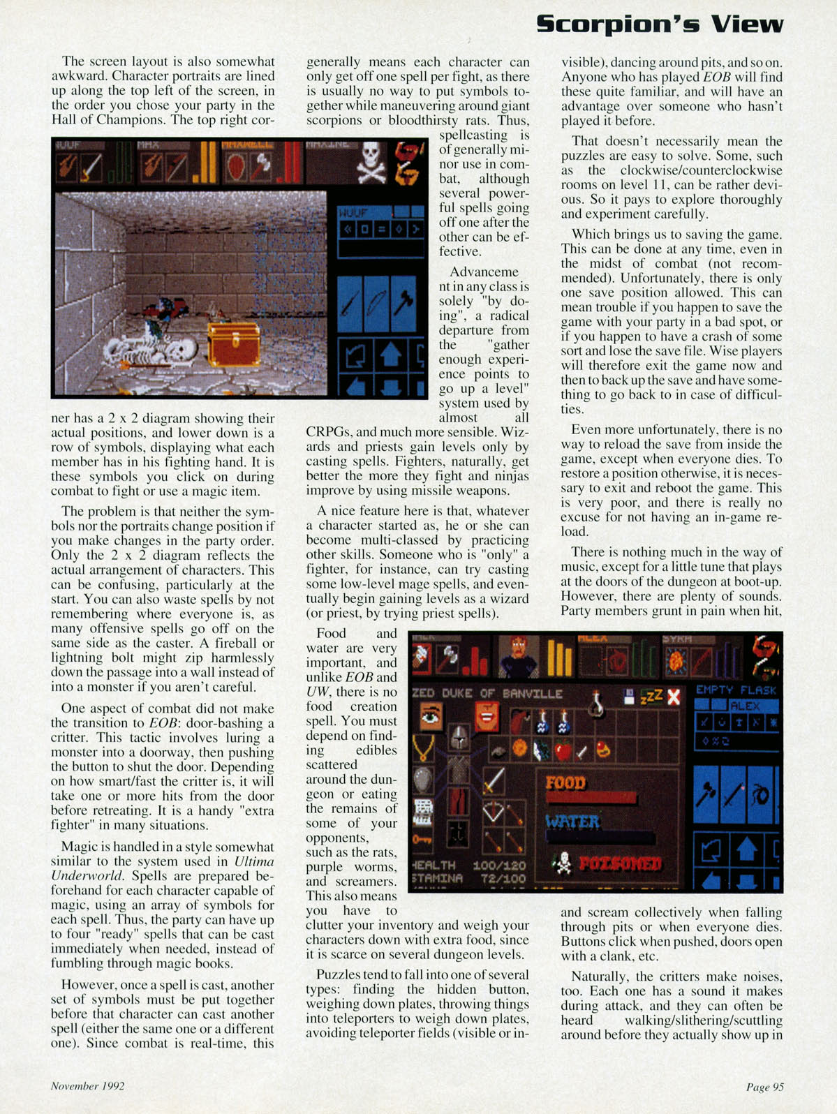 Dungeon Master for PC Review published in American magazine 'Computer Gaming World', Issue #100 November 1992, Page 95