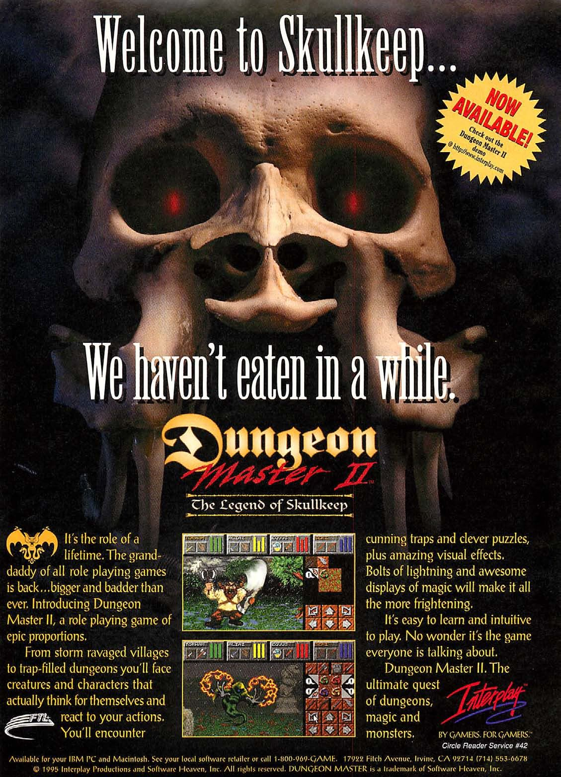 Dungeon Master II for PC-Macintosh Advertisement published in American magazine 'Computer Gaming World', Issue #134 September 1995, Page 57
