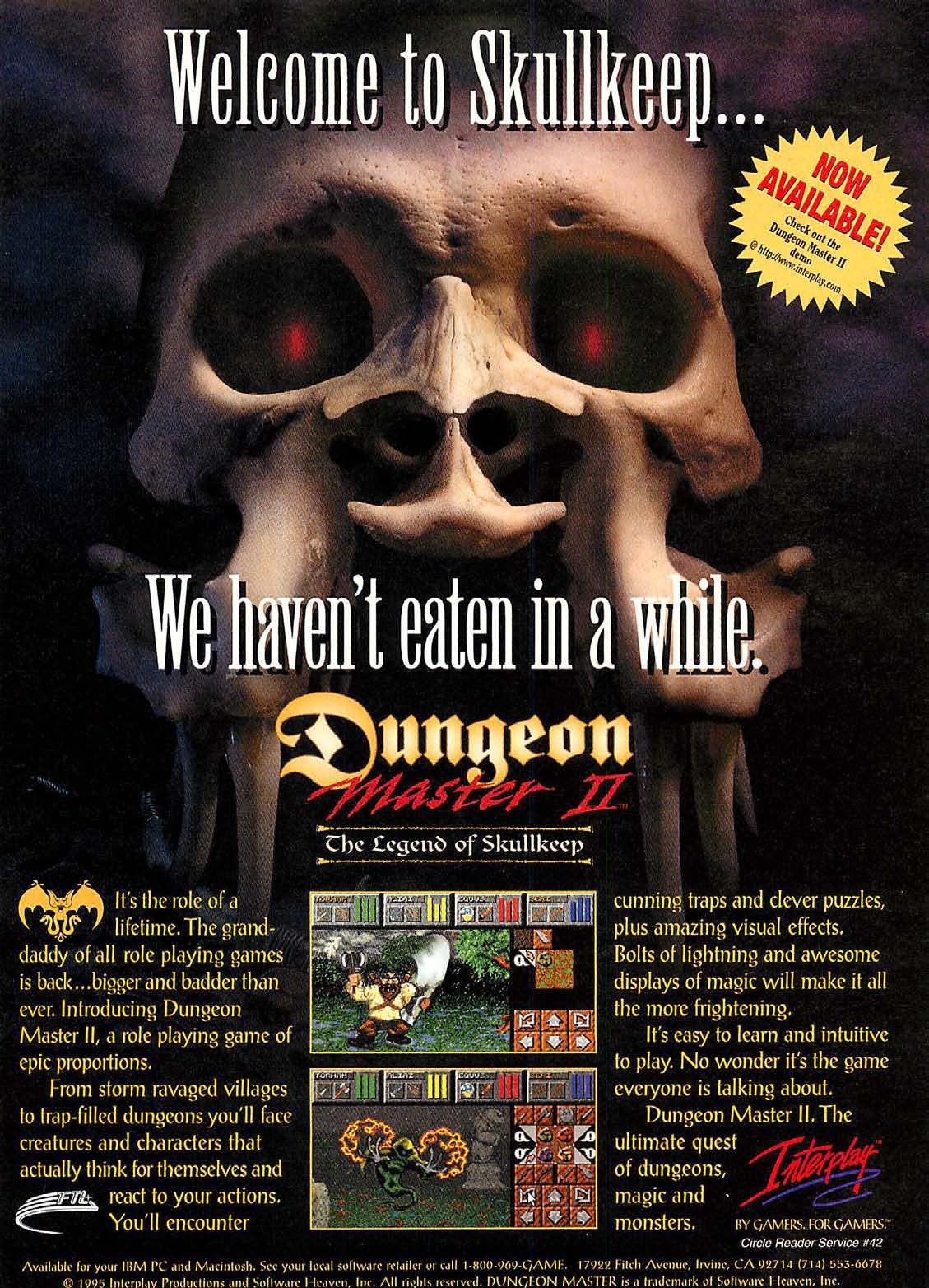 Dungeon Master II for PC-Macintosh Advertisement published in American magazine 'Computer Gaming World', Issue #135 October 1995, Page 57