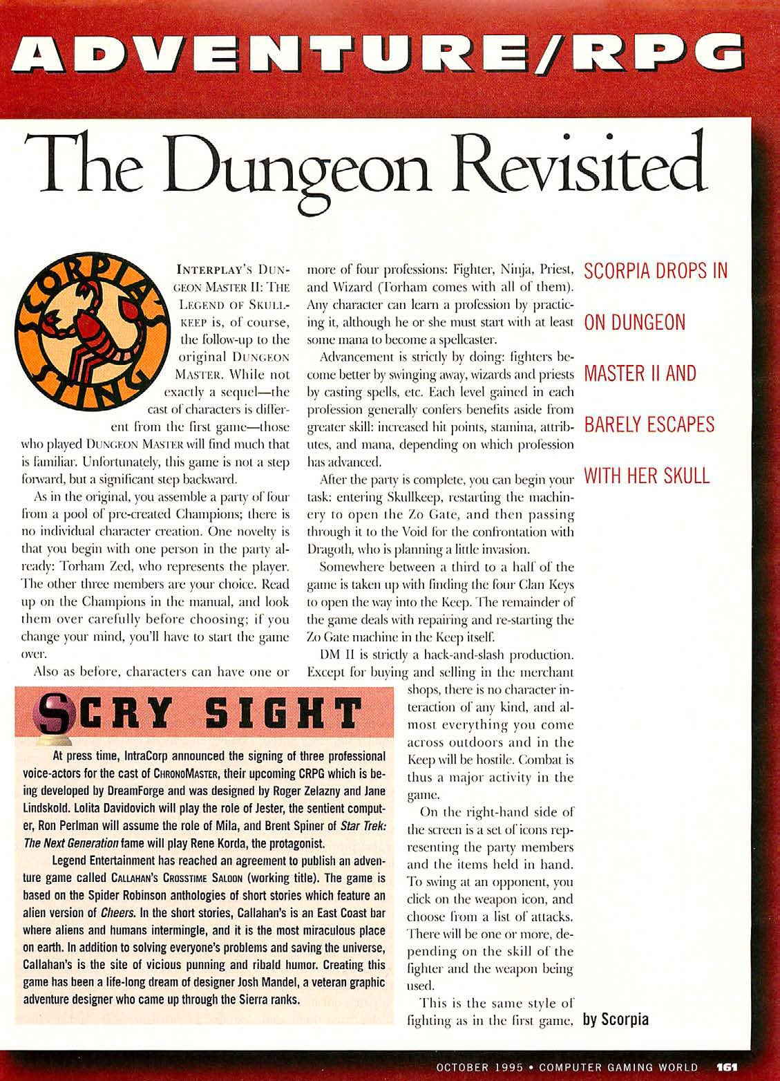 Dungeon Master II for PC Review published in American magazine 'Computer Gaming World', Issue #135 October 1995, Page 161
