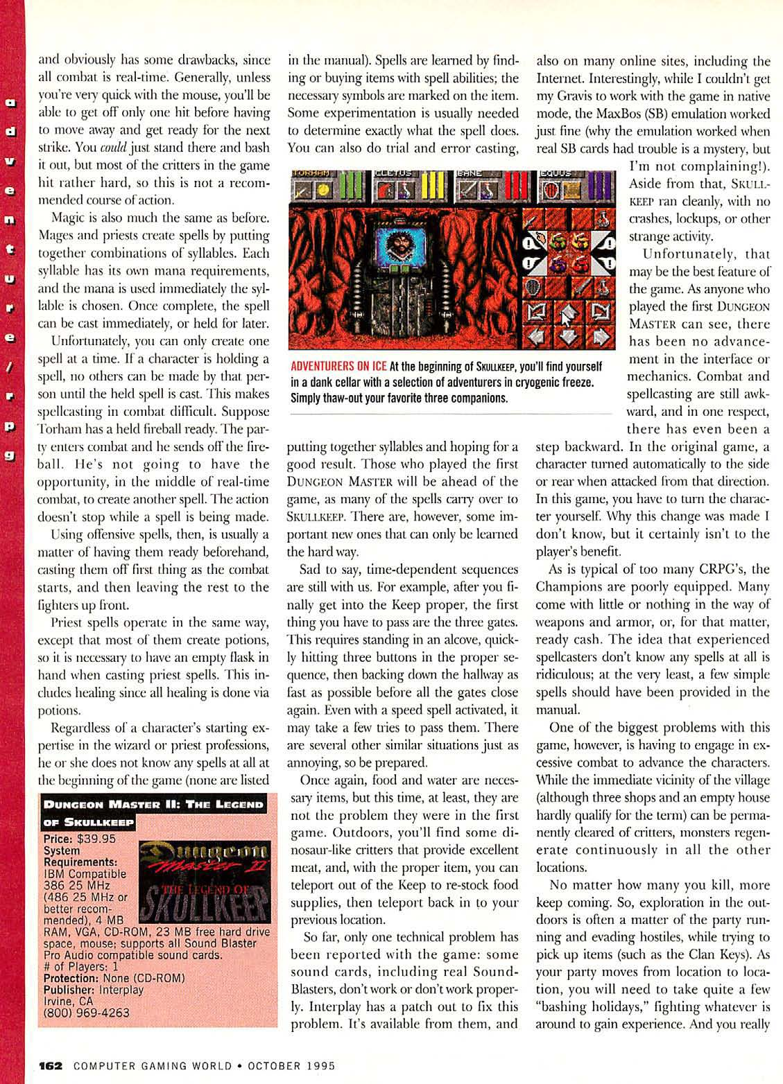 Dungeon Master II for PC Review published in American magazine 'Computer Gaming World', Issue #135 October 1995, Page 162