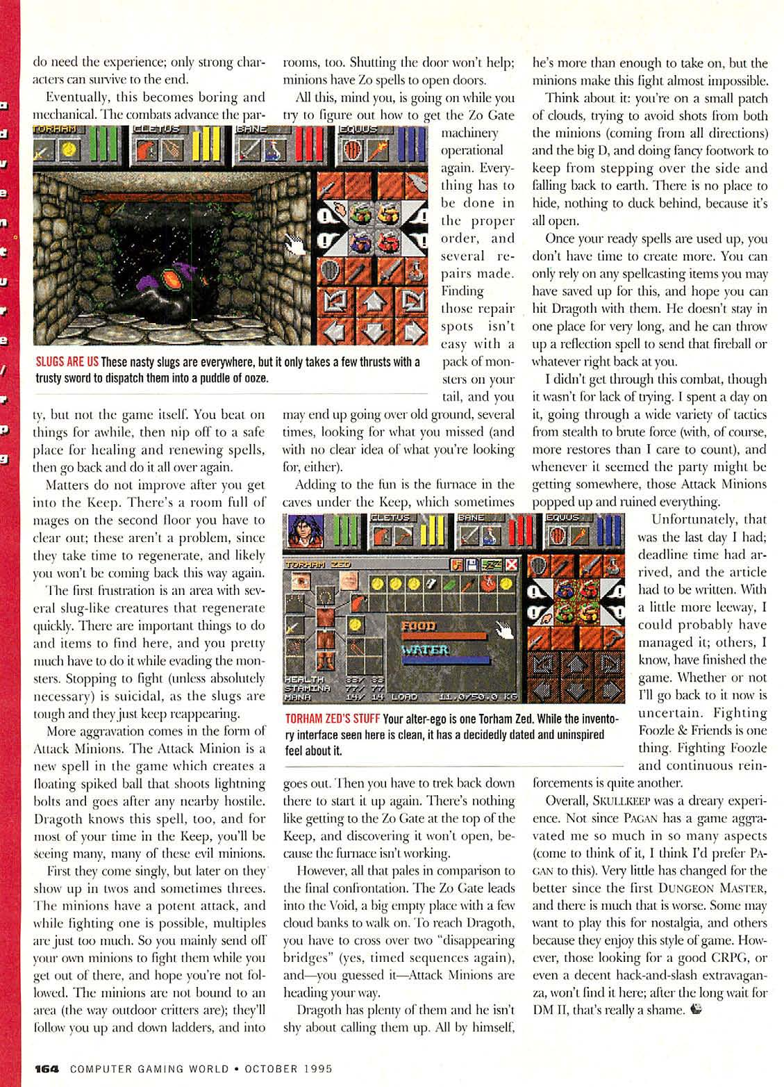 Dungeon Master II for PC Review published in American magazine 'Computer Gaming World', Issue #135 October 1995, Page 164