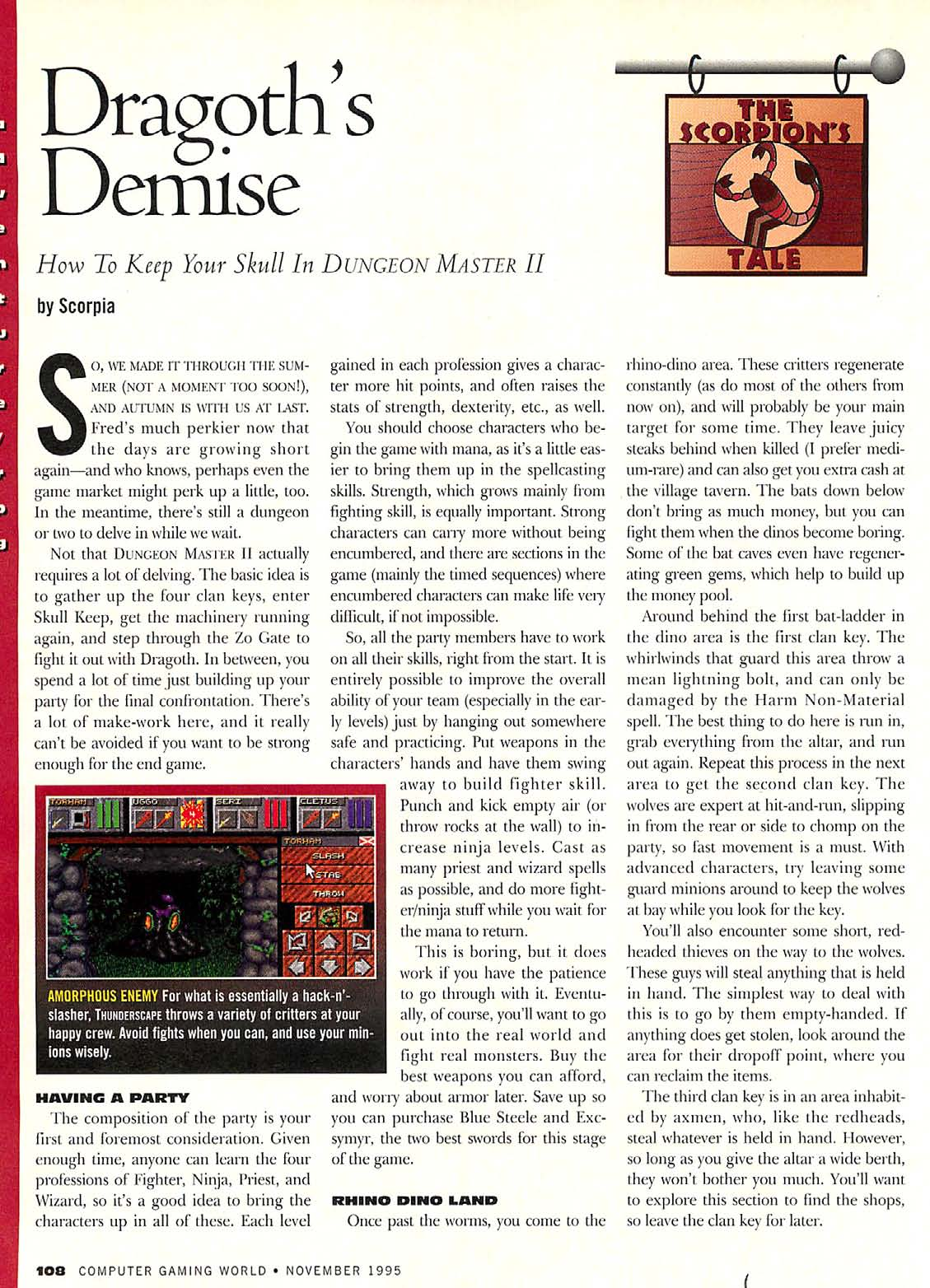 Dungeon Master II Guide published in American magazine 'Computer Gaming World', Issue #136 November 1995, Page 108