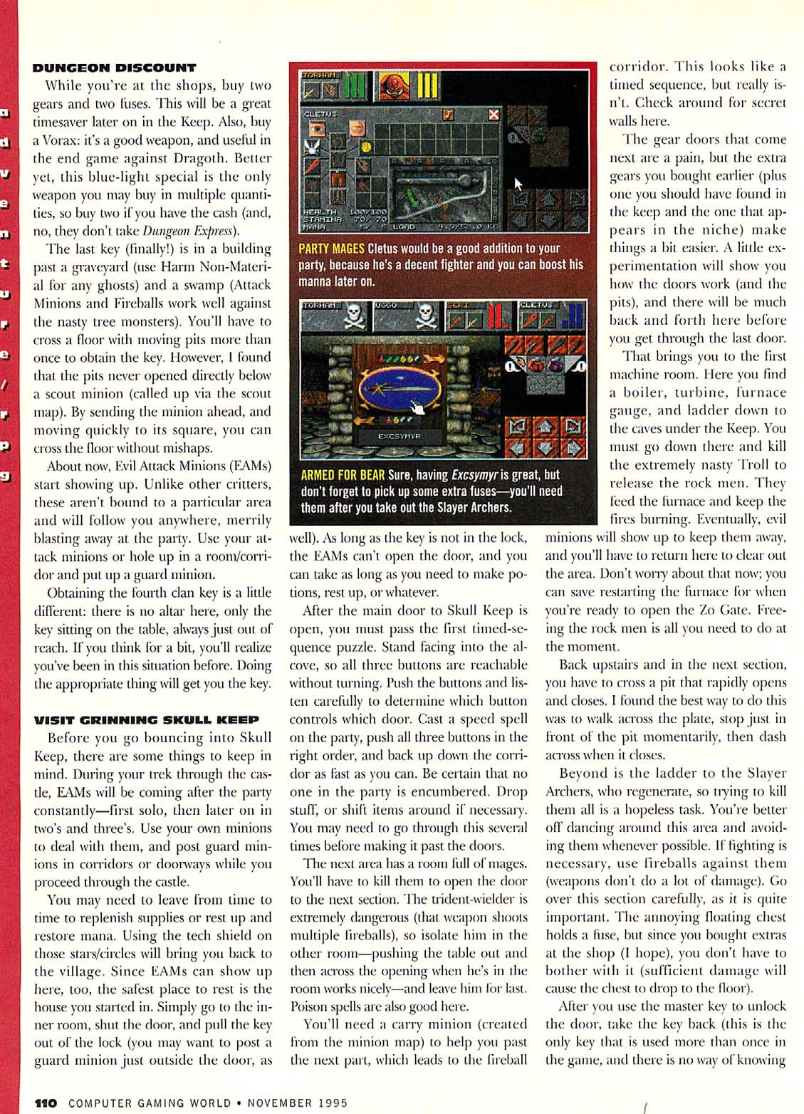 Dungeon Master II Guide published in American magazine 'Computer Gaming World', Issue #136 November 1995, Page 110