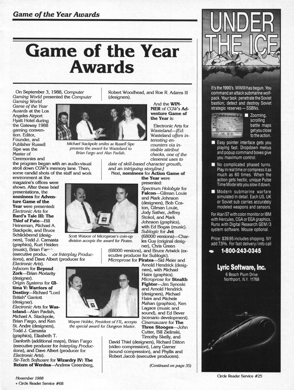 Dungeon Master Article published in American magazine 'Computer Gaming World', Issue #53 November 1988, Page 21