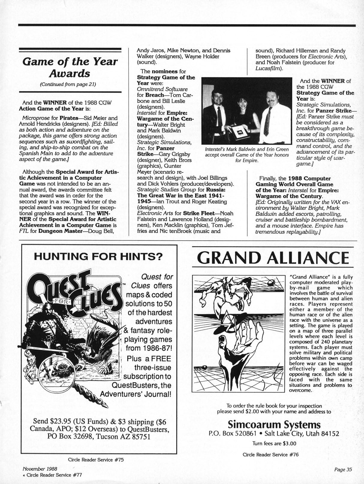 Dungeon Master Article published in American magazine 'Computer Gaming World', Issue #53 November 1988, Page 35