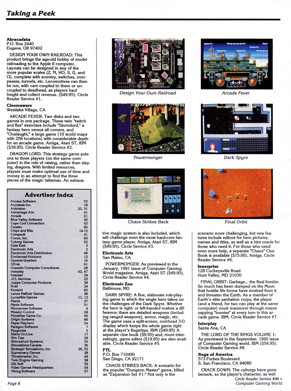 Chaos Strikes Back Preview published in American magazine 'Computer Gaming World', Issue #80 March 1991, Page 6