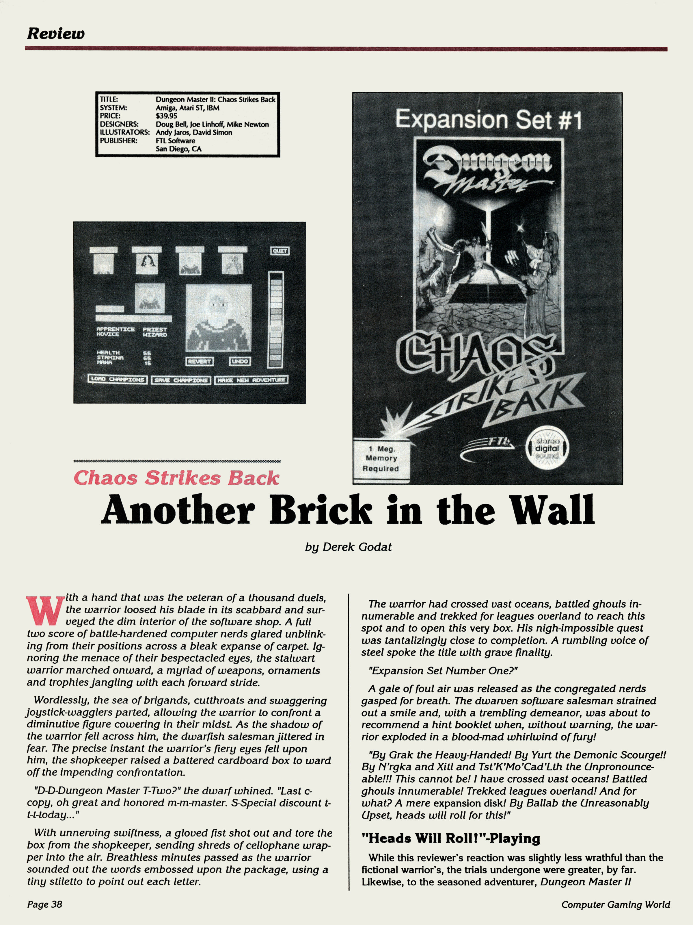 Chaos Strikes Back for Amiga Review published in American magazine 'Computer Gaming World', Issue #82, May 1991, Page 38