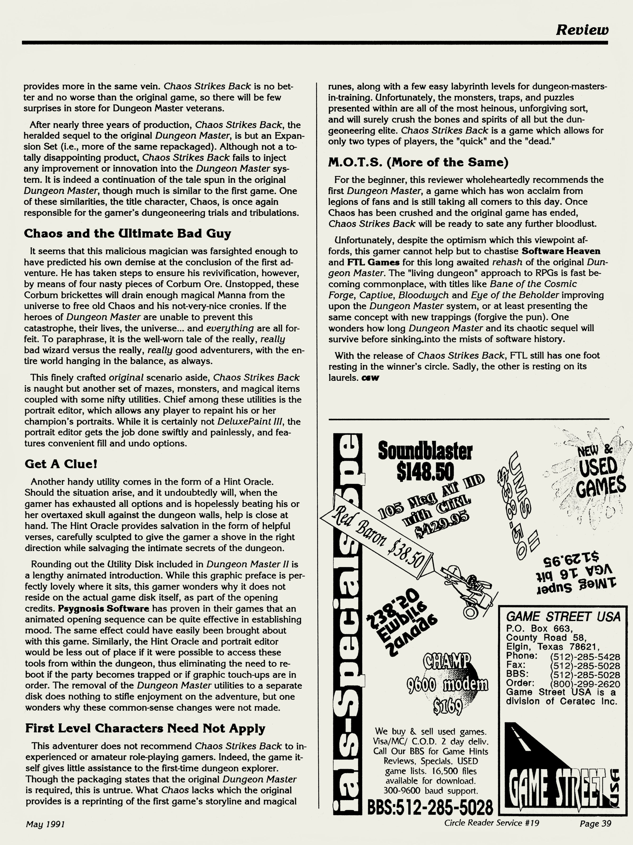 Chaos Strikes Back for Amiga Review published in American magazine 'Computer Gaming World', Issue #82, May 1991, Page 39