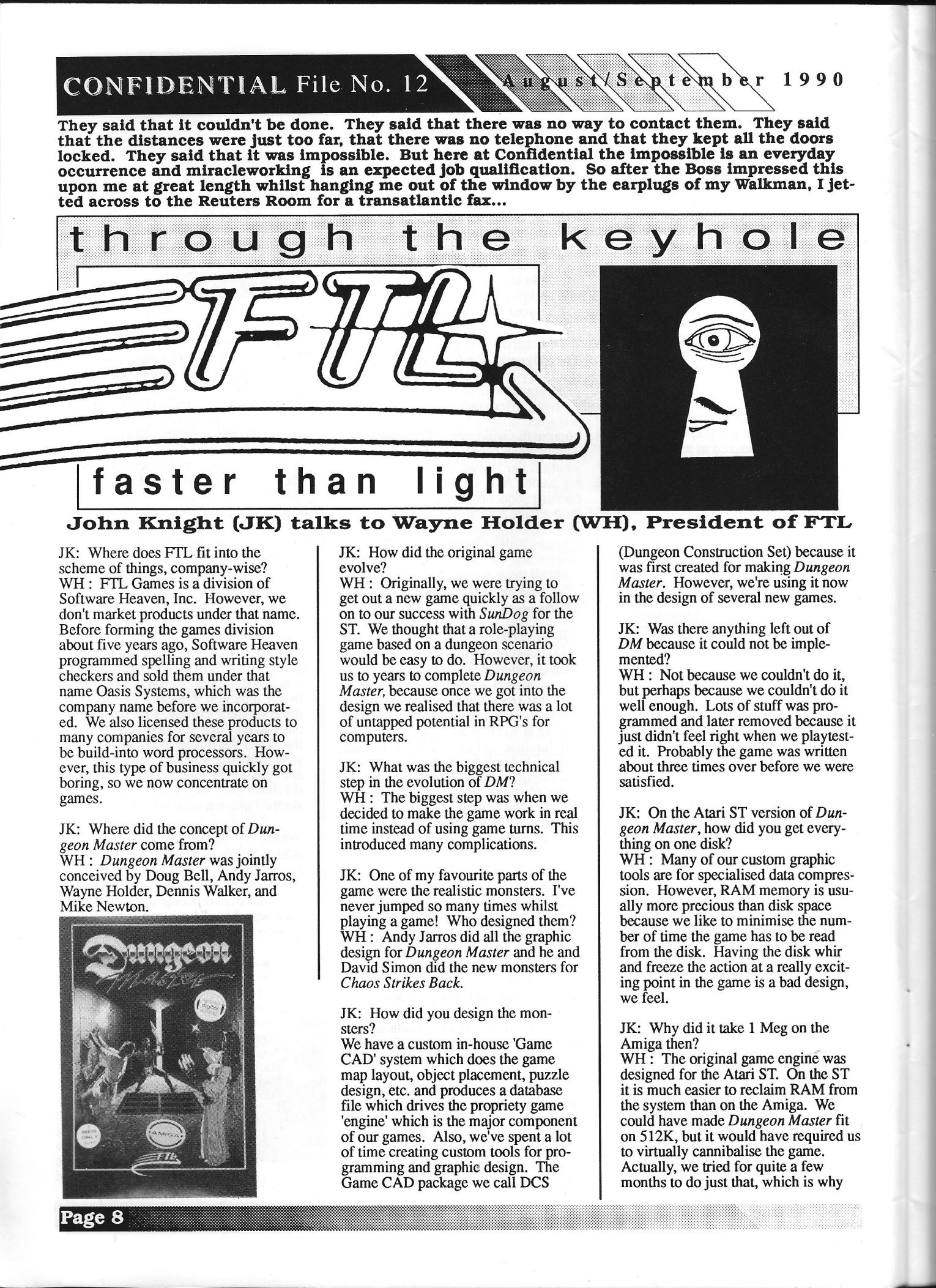 FTL Article published in British magazine 'Confidential', Issue #12 August-September 1990, Page 8
