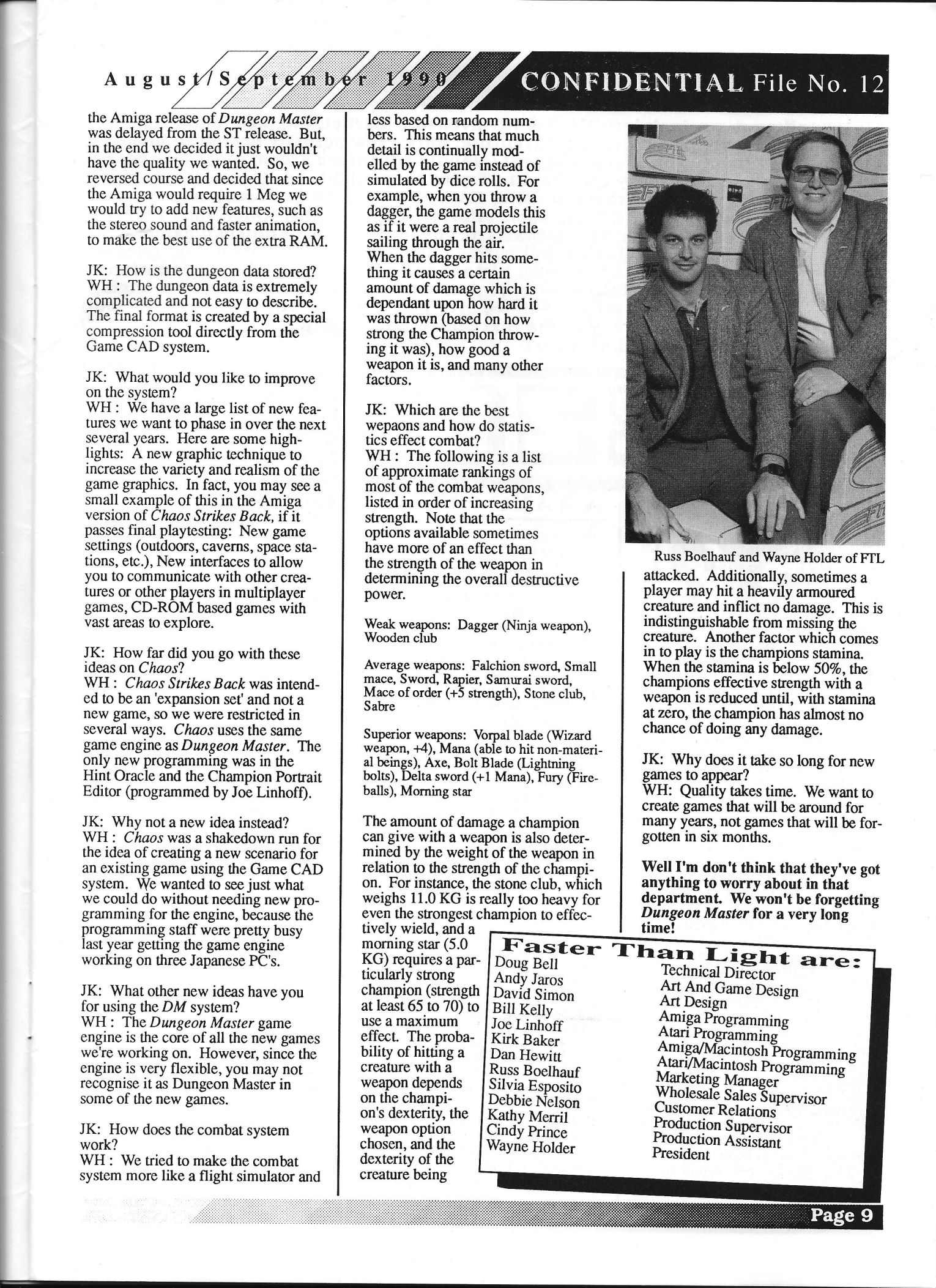 FTL Article published in British magazine 'Confidential', Issue #12 August-September 1990, Page 9