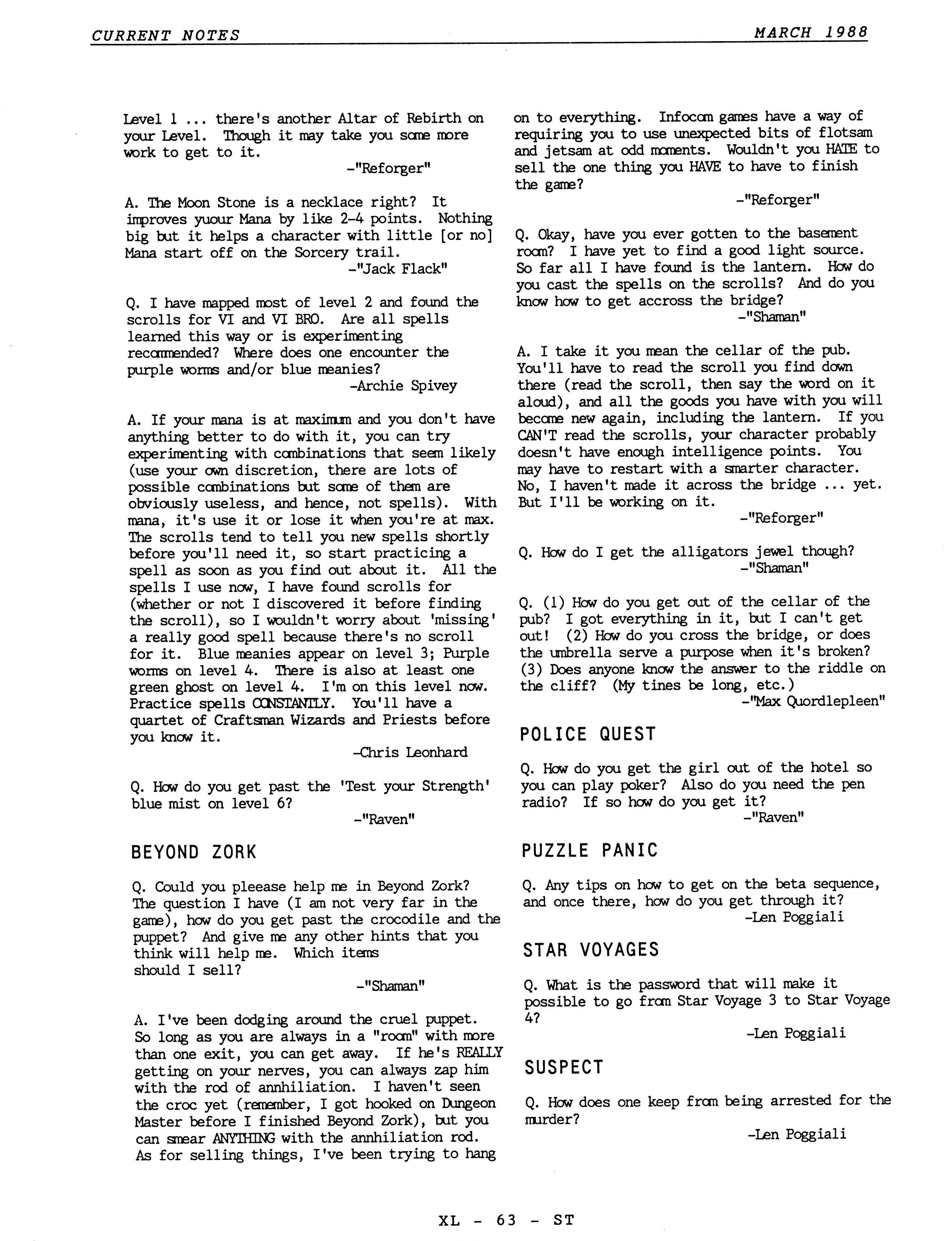 Dungeon Master Hints published in American magazine 'Current Notes', March 1988, Page 63