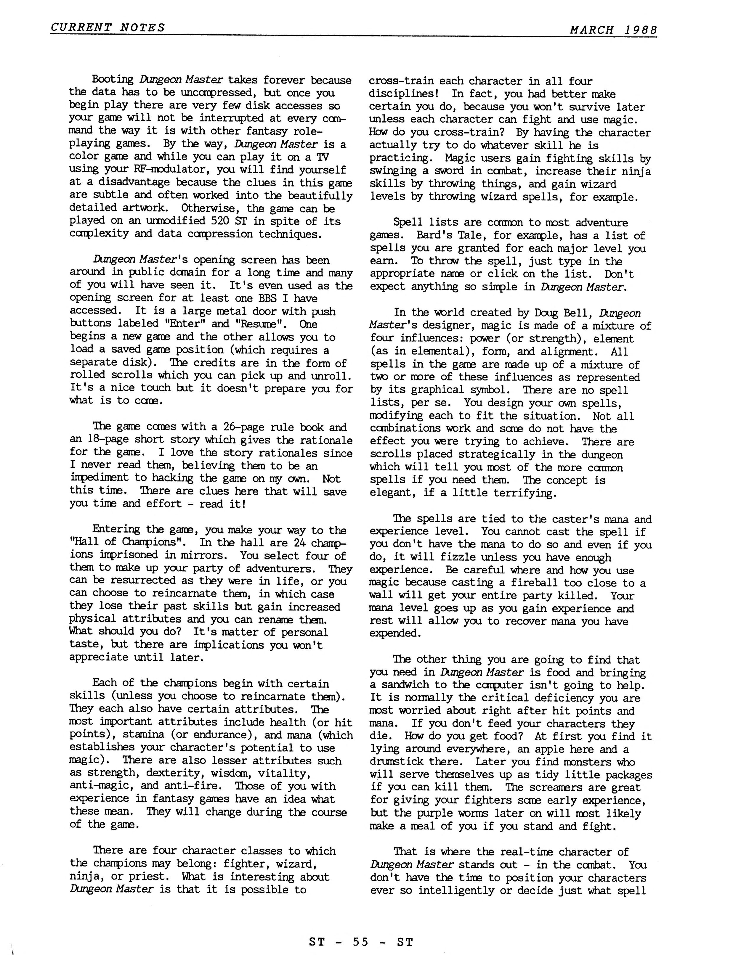 Dungeon Master for Atari ST Review published in American magazine 'Current Notes', March 1988, Page 55