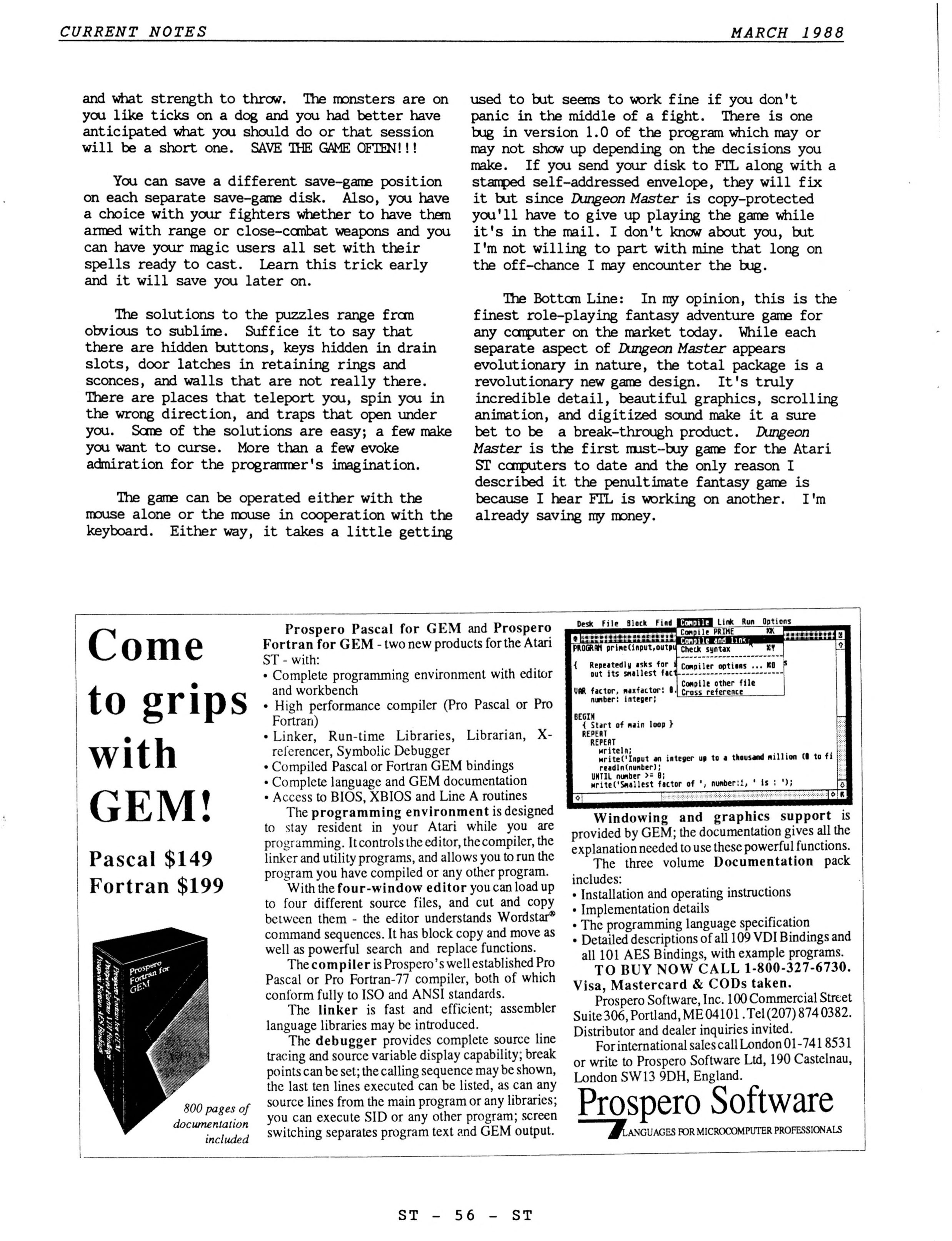 Dungeon Master for Atari ST Review published in American magazine 'Current Notes', March 1988, Page 56