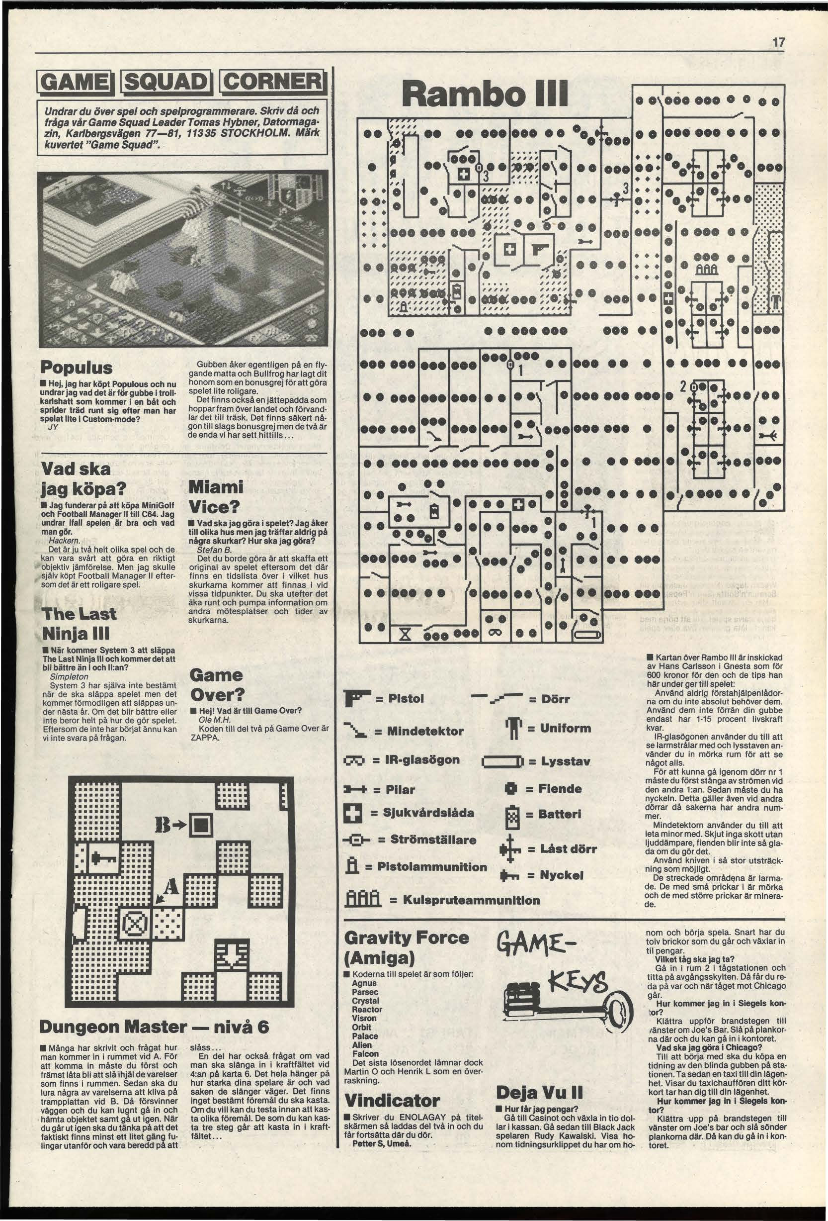 Dungeon Master Hints published in Swedish magazine 'Datormagazin', Vol 1989 No 14 October 1989, Page 17