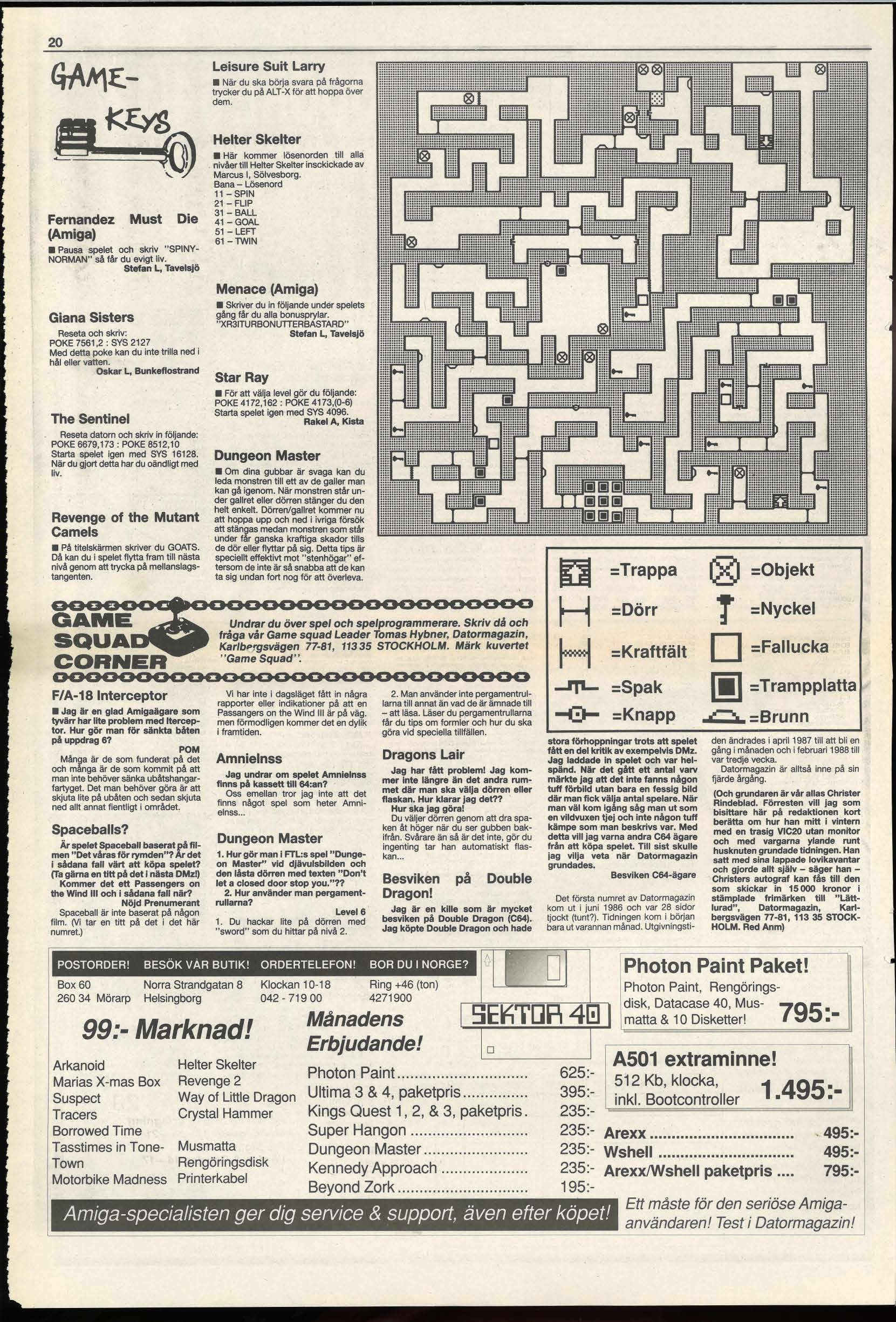 Dungeon Master Hints published in Swedish magazine 'Datormagazin', Vol 1989 No 4 March 1989, Page 20