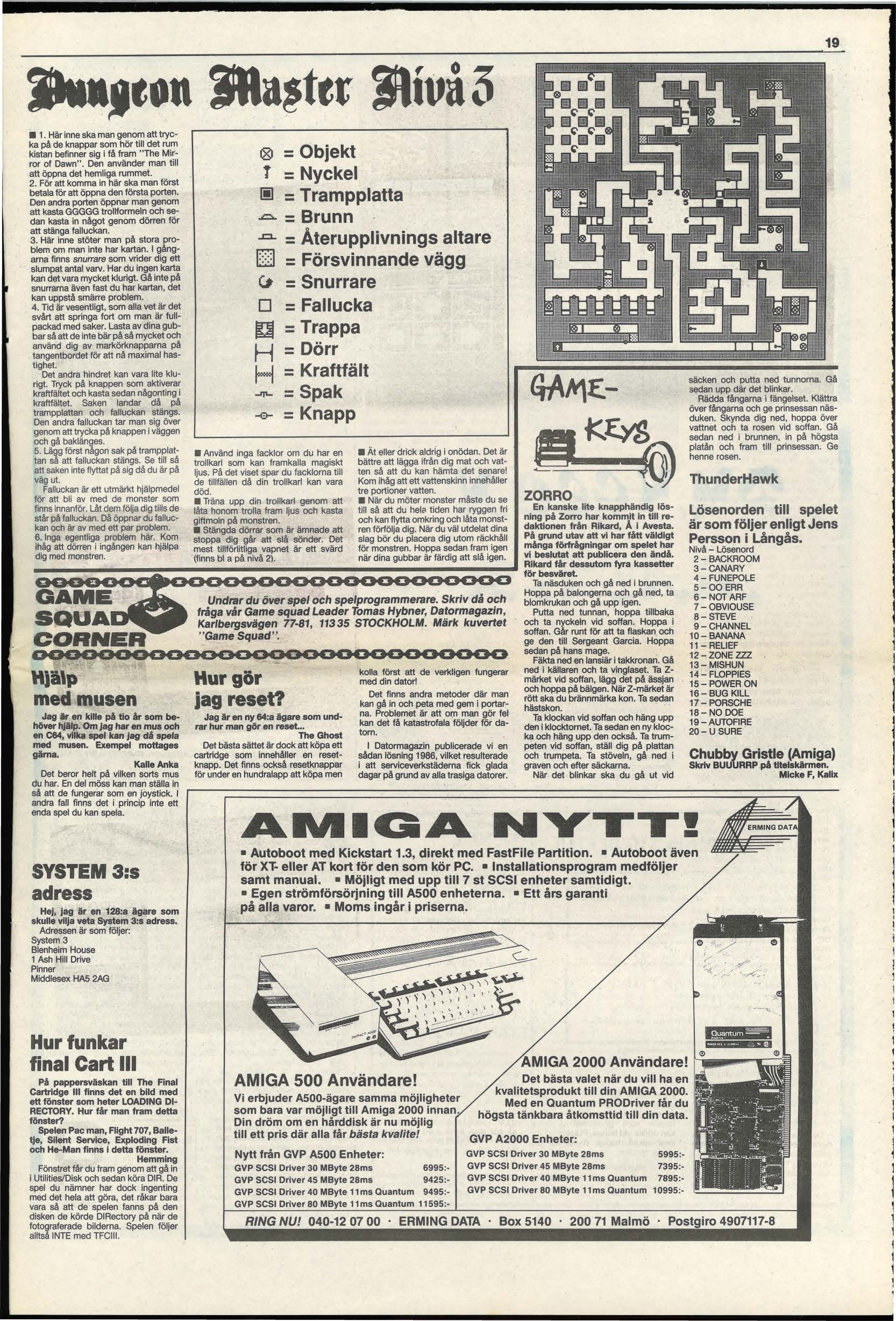Dungeon Master Hints published in Swedish magazine 'Datormagazin', Vol 1989 No 5 April 1989, Page 19