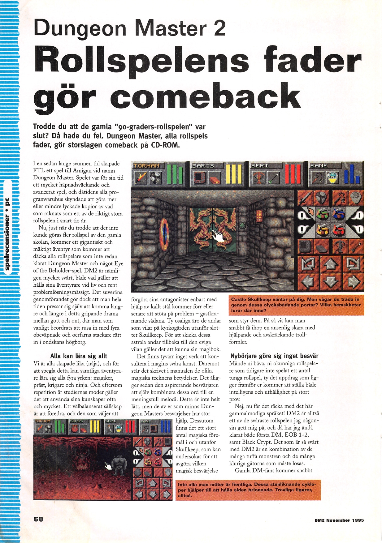 Dungeon Master II for Amiga Review published in Swedish magazine 'Datormagazin', Vol 1995 No 14 November 1995, Page 60