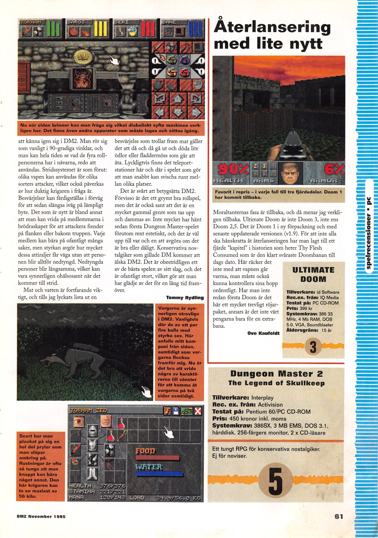 Dungeon Master II for Amiga Review published in Swedish magazine 'Datormagazin', Vol 1995 No 14 November 1995, Page 61