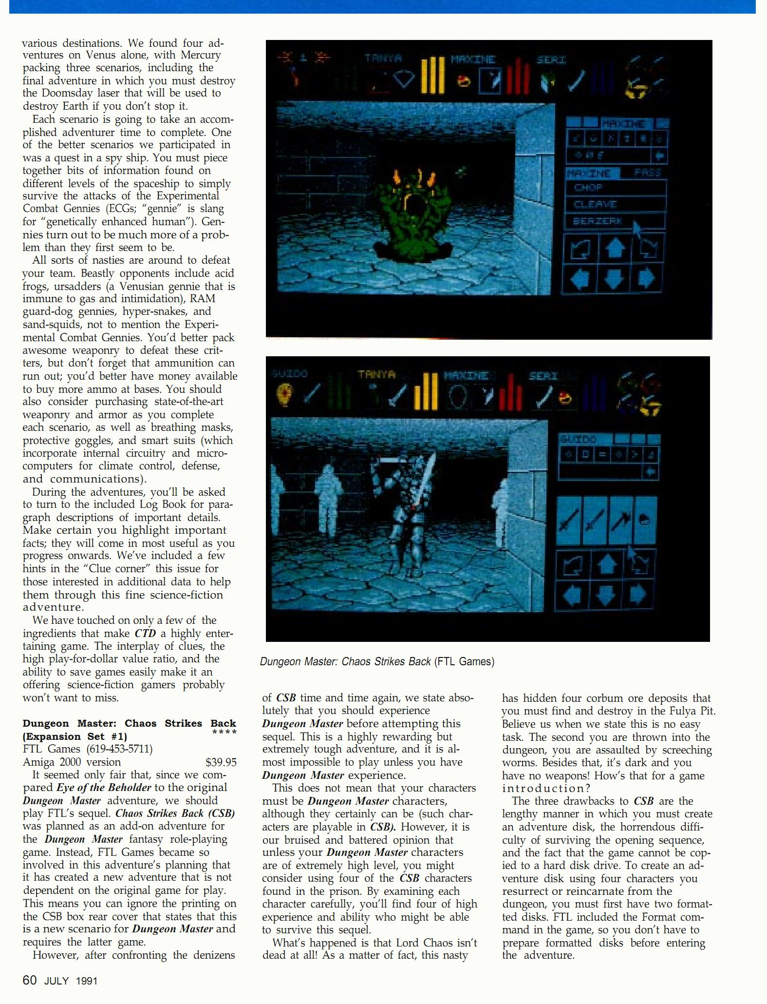 Chaos Strikes Back Review published in British-American magazine 'Dragon Magazine', Issue #171 Vol XVI No 2 July 1991, Page 60