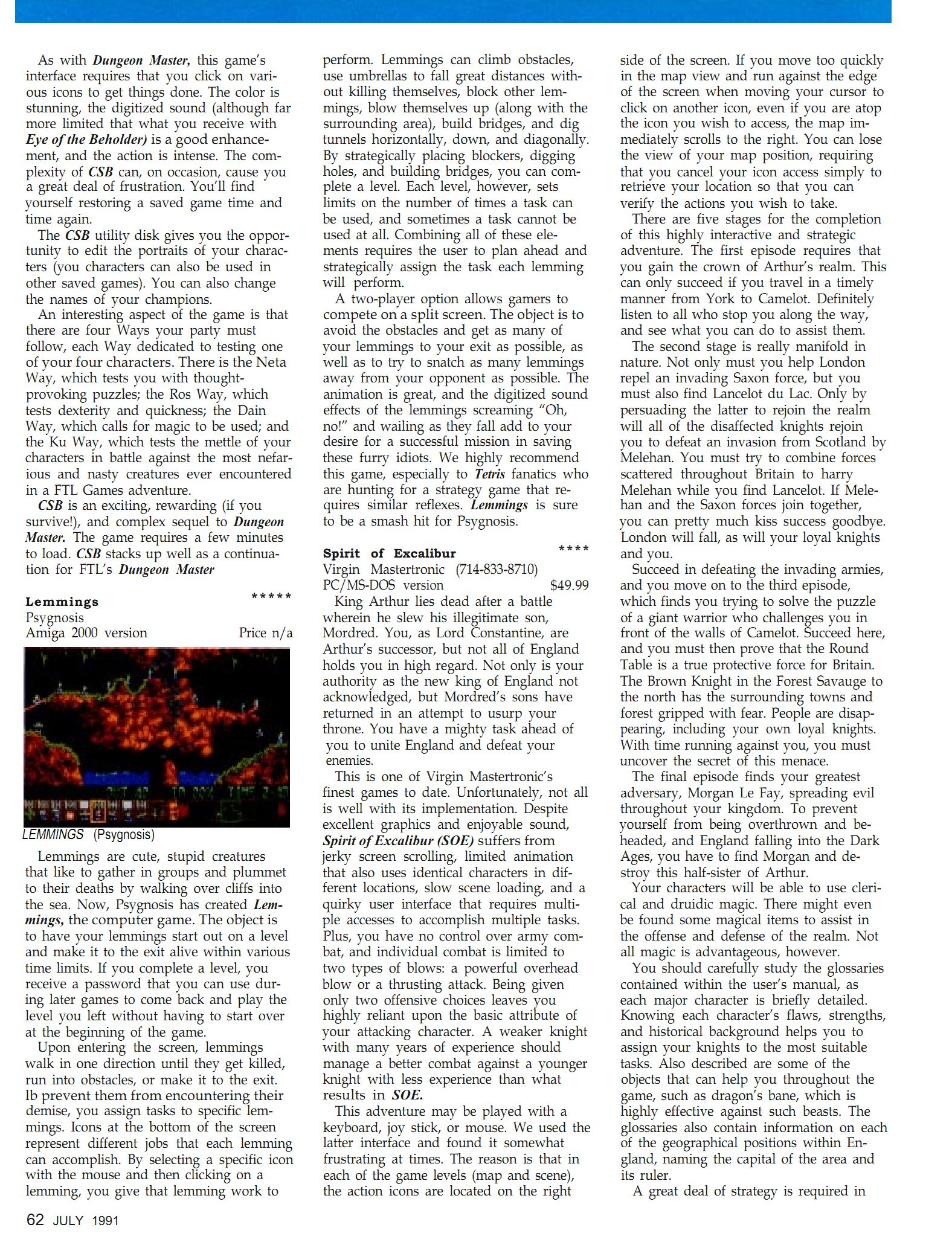 Chaos Strikes Back Review published in British-American magazine 'Dragon Magazine', Issue #171 Vol XVI No 2 July 1991, Page 62