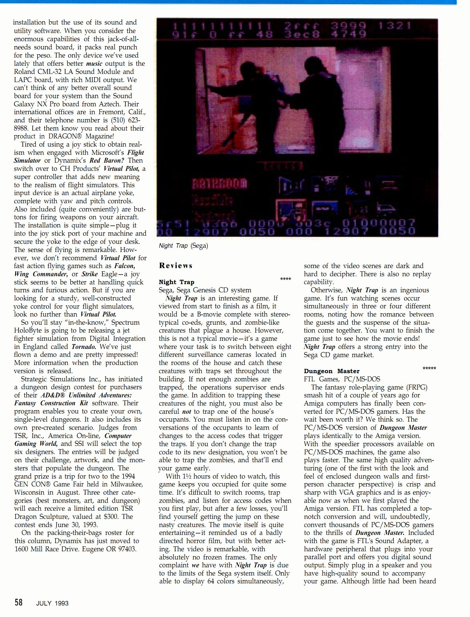 Dungeon Master for PC Review published in British-American magazine 'Dragon Magazine', Issue #195 Vol XVIII No 2 July 1993, Page 58