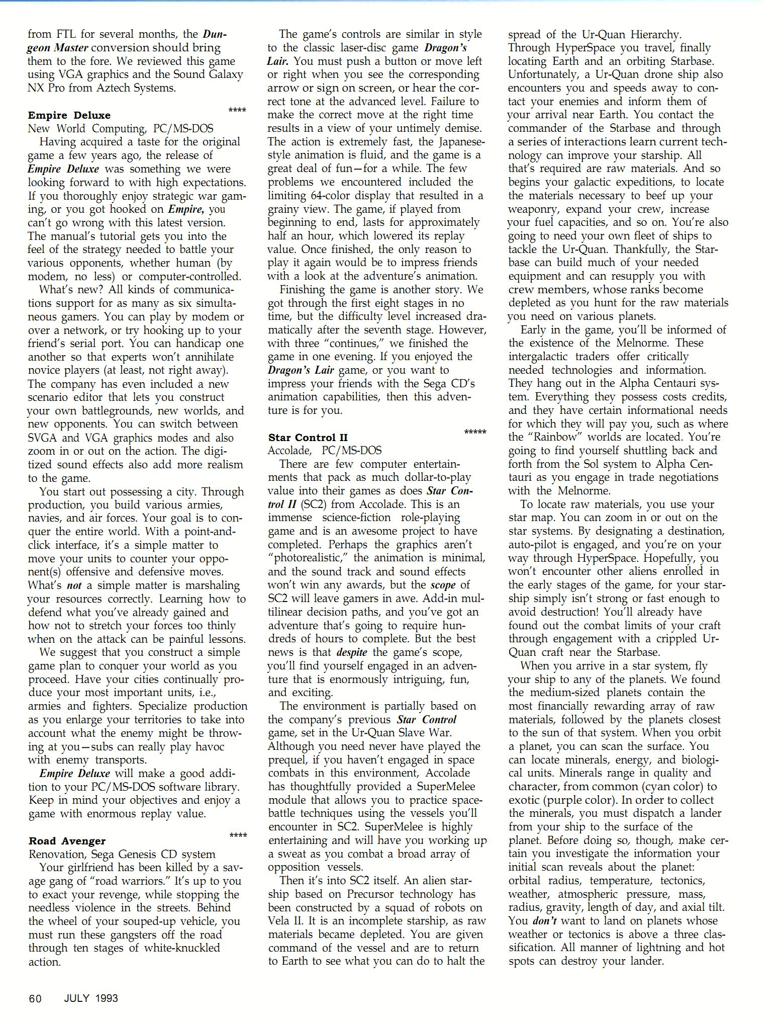 Dungeon Master for PC Review published in British-American magazine 'Dragon Magazine', Issue #195 Vol XVIII No 2 July 1993, Page 60