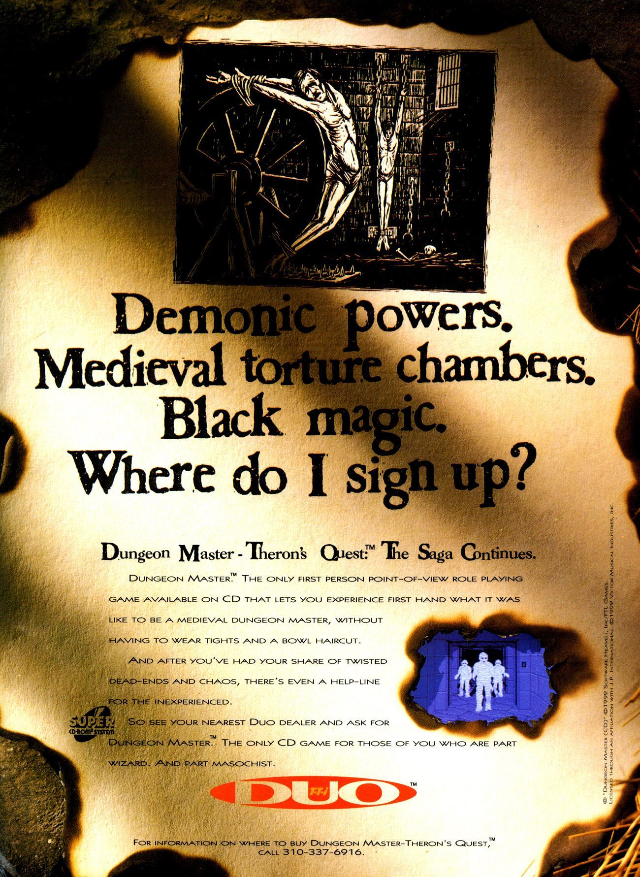 Theron's Quest for Turbografx Advertisement published in American magazine 'Duo World', Issue #1 July-August 1993, Page 25