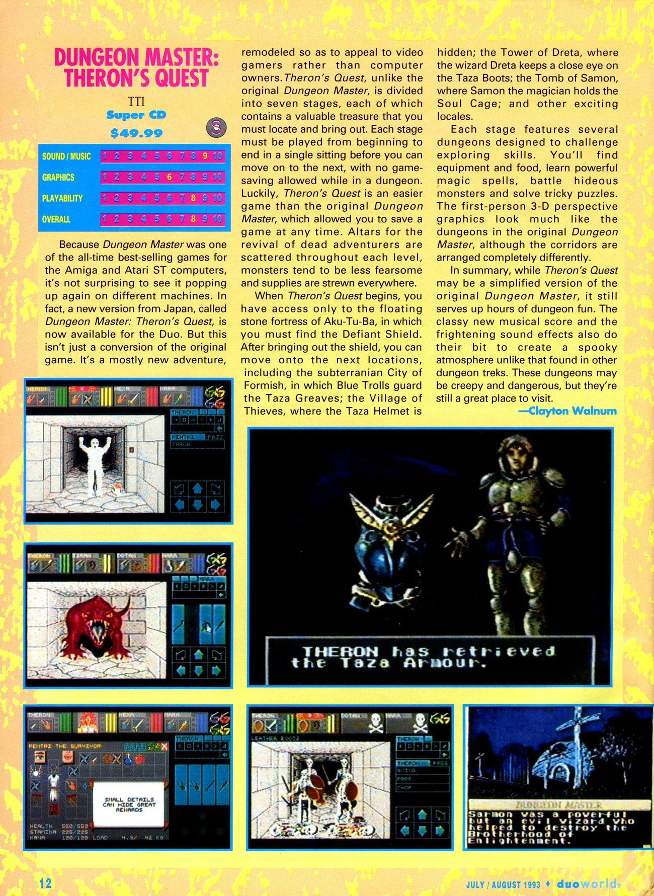 Theron's Quest for Turbografx Review published in American magazine 'Duo World', Issue #1 July-August 1993, Page 12