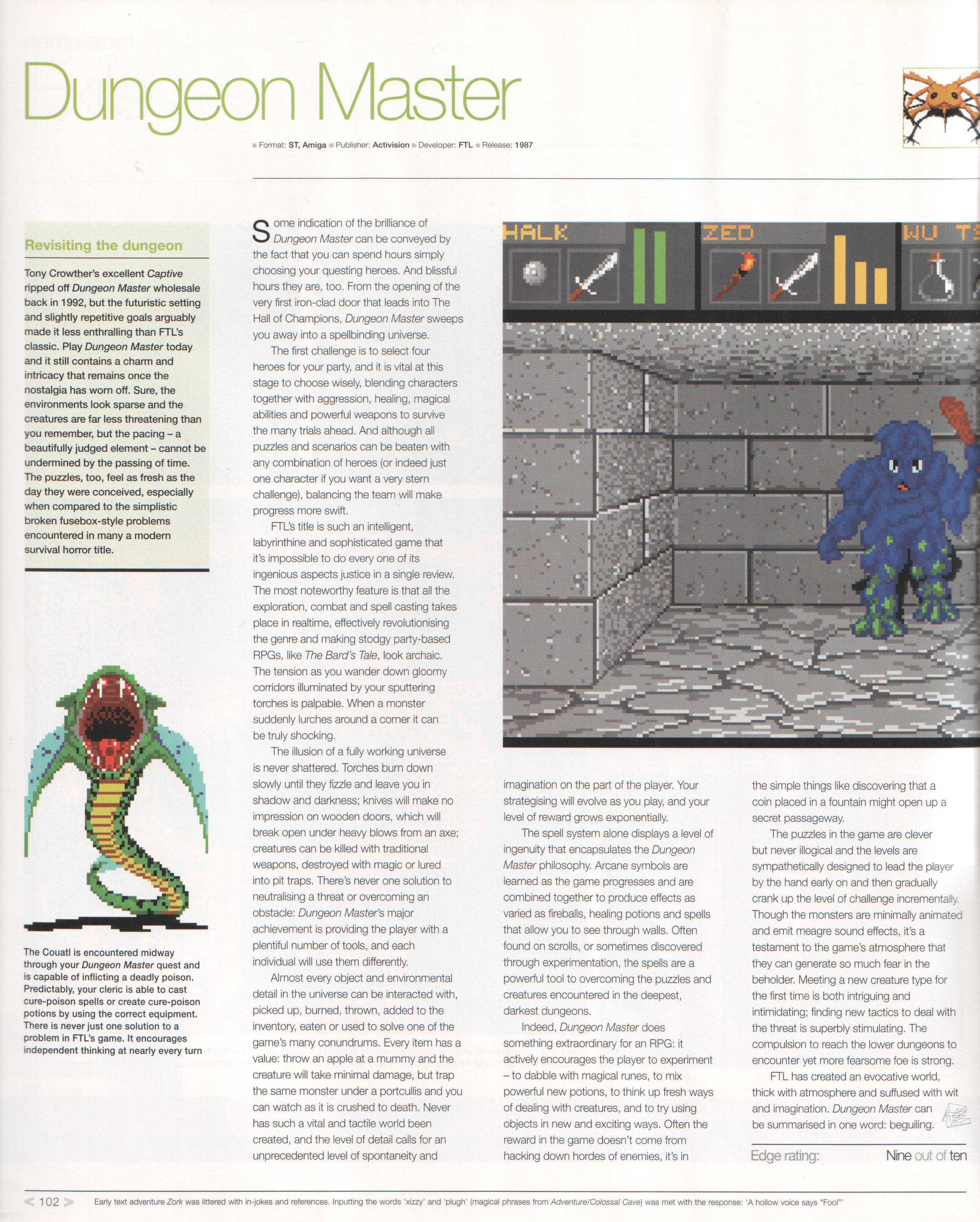 Dungeon Master Review published in British magazine 'Edge Presents Retro The Guide To Classic Videogame Playing And Collecting', December 2002, Page 102