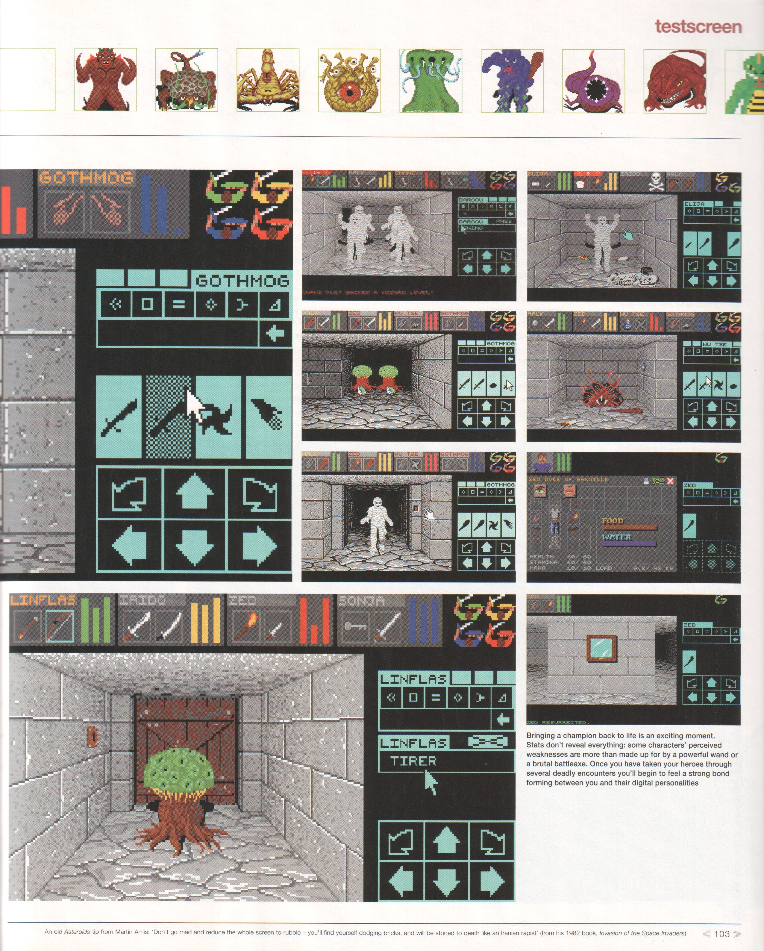 Dungeon Master Review published in British magazine 'Edge Presents Retro The Guide To Classic Videogame Playing And Collecting', December 2002, Page 103