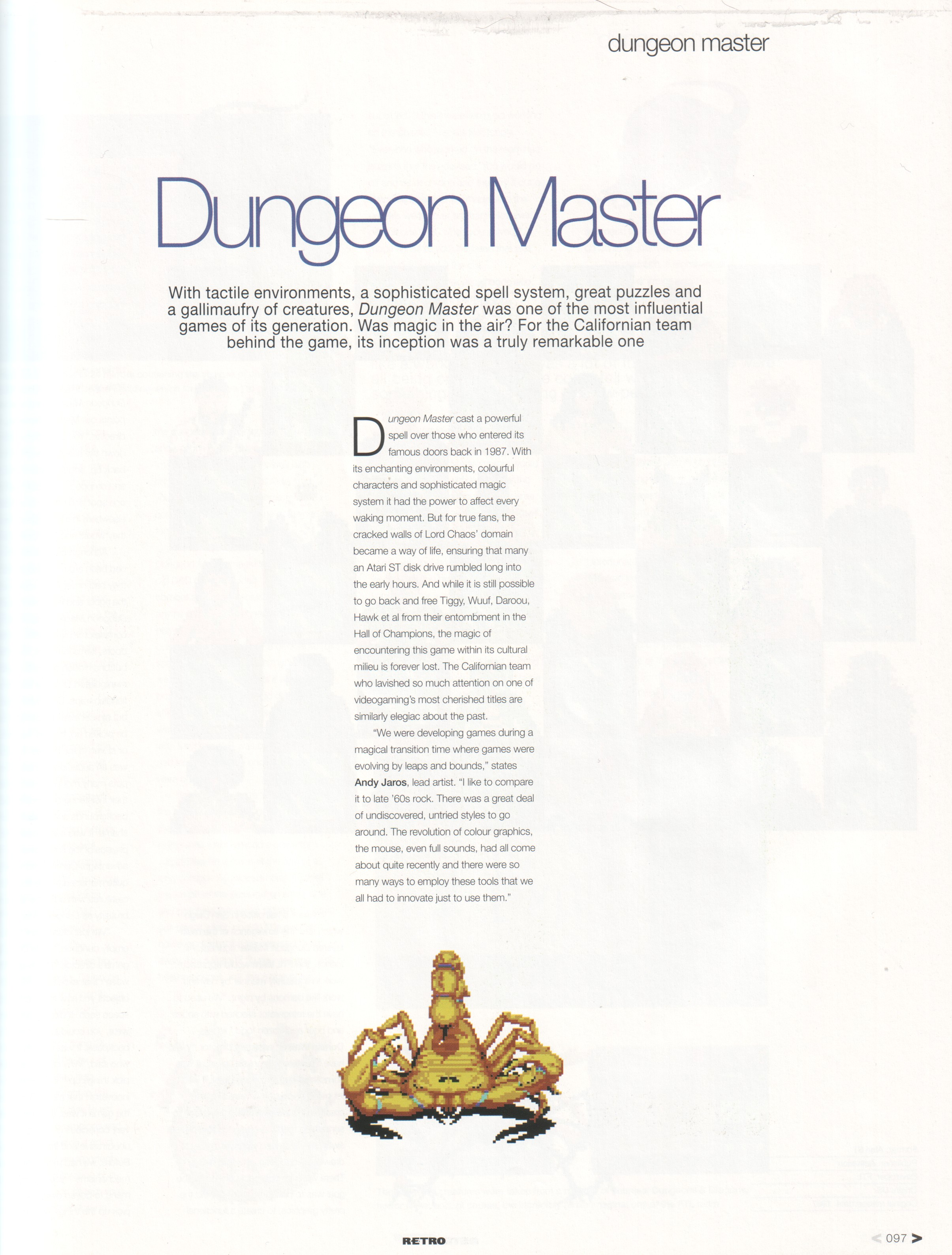 Dungeon Master Article published in British magazine 'Edge Presents Retro The Making Of Special', February 2003, Page 97