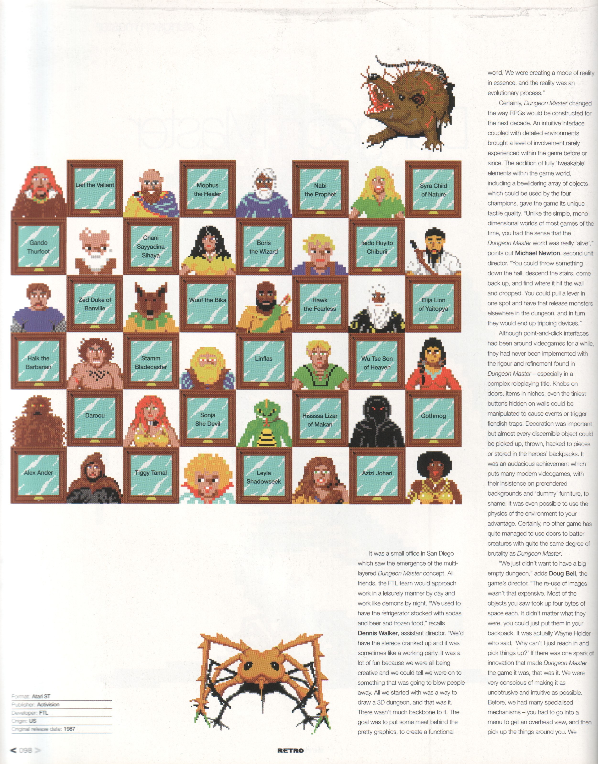 Dungeon Master Article published in British magazine 'Edge Presents Retro The Making Of Special', February 2003, Page 98