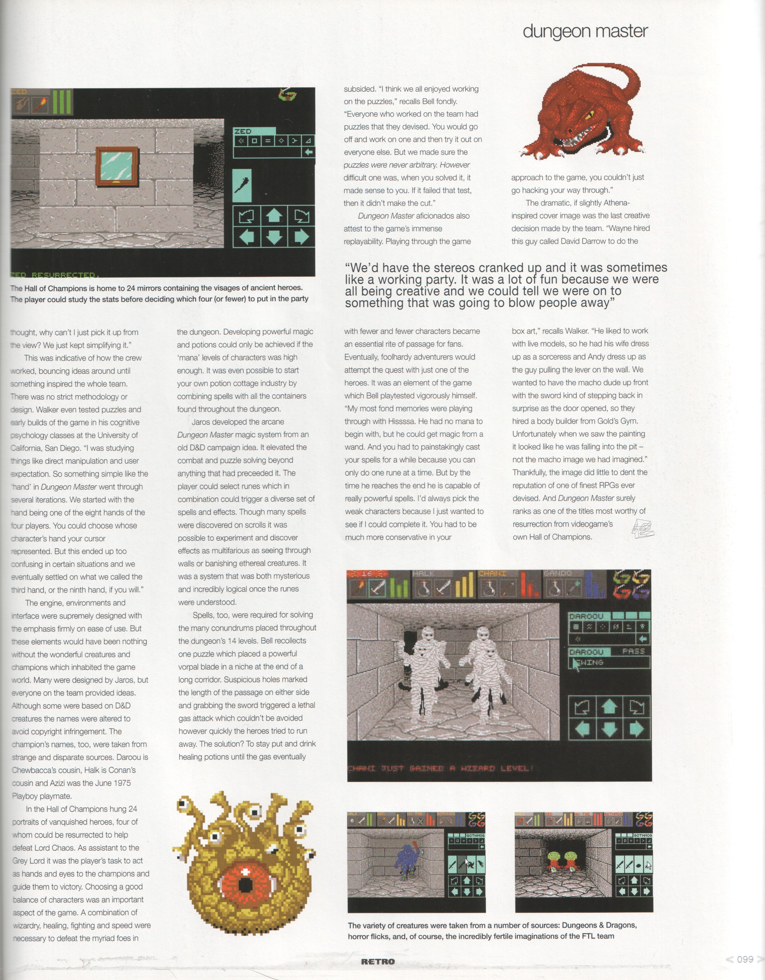 Dungeon Master Article published in British magazine 'Edge Presents Retro The Making Of Special', February 2003, Page 99