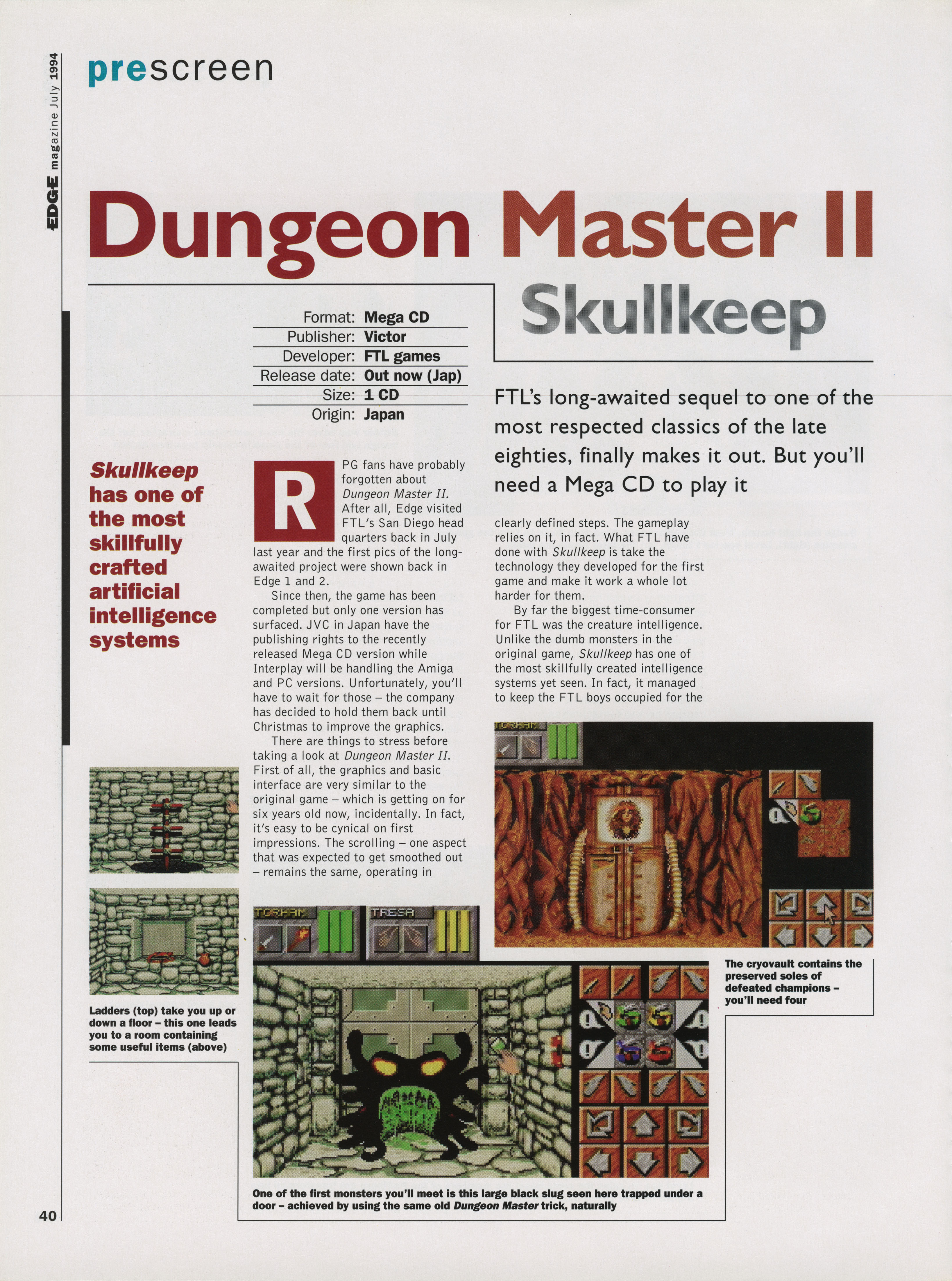 Dungeon Master II for Mega CD Preview published in British magazine 'Edge', Issue #10 July 1994, Page 40