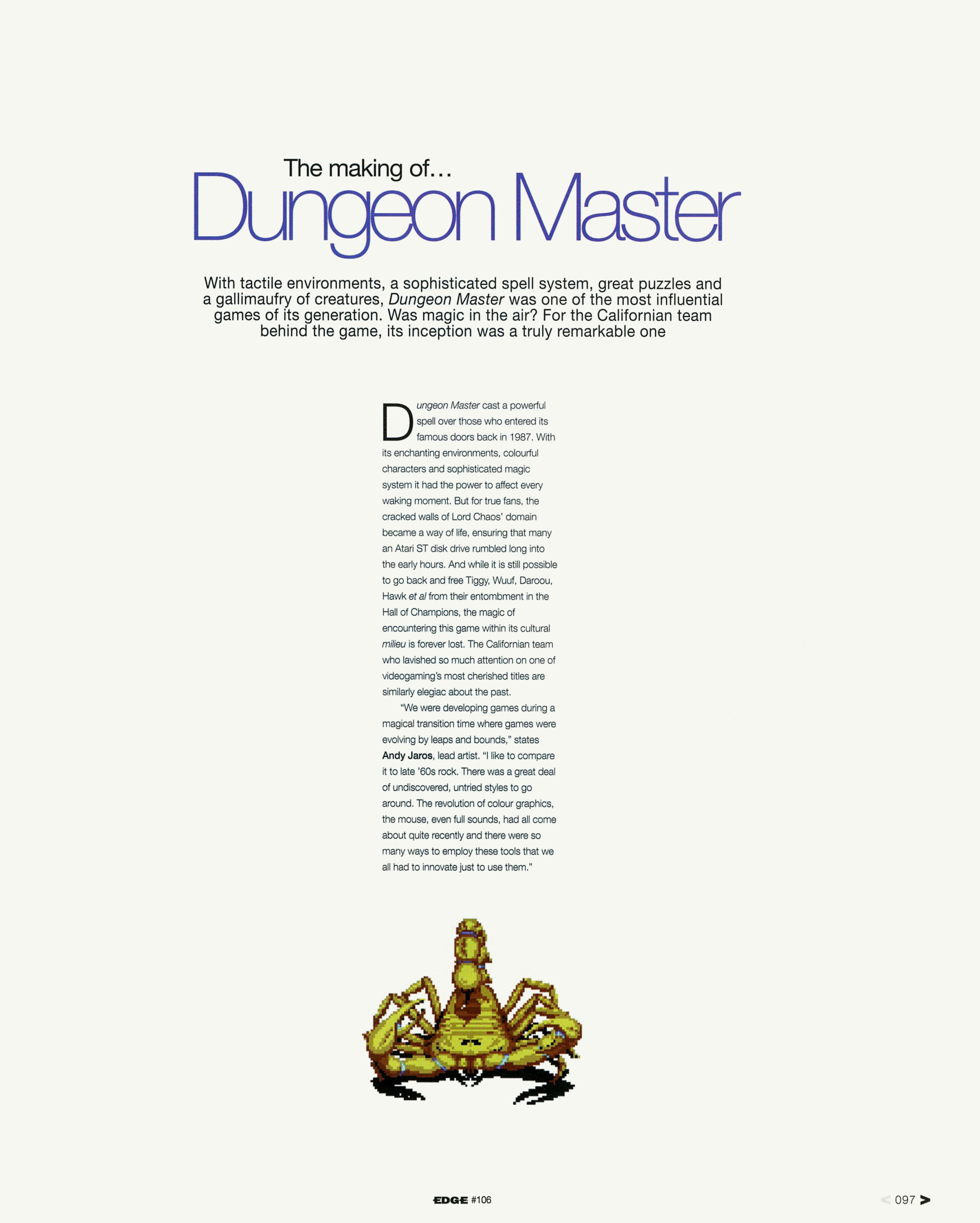 Dungeon Master Game Series Article published in British magazine 'Edge', Issue #106 January 2002, Page 97