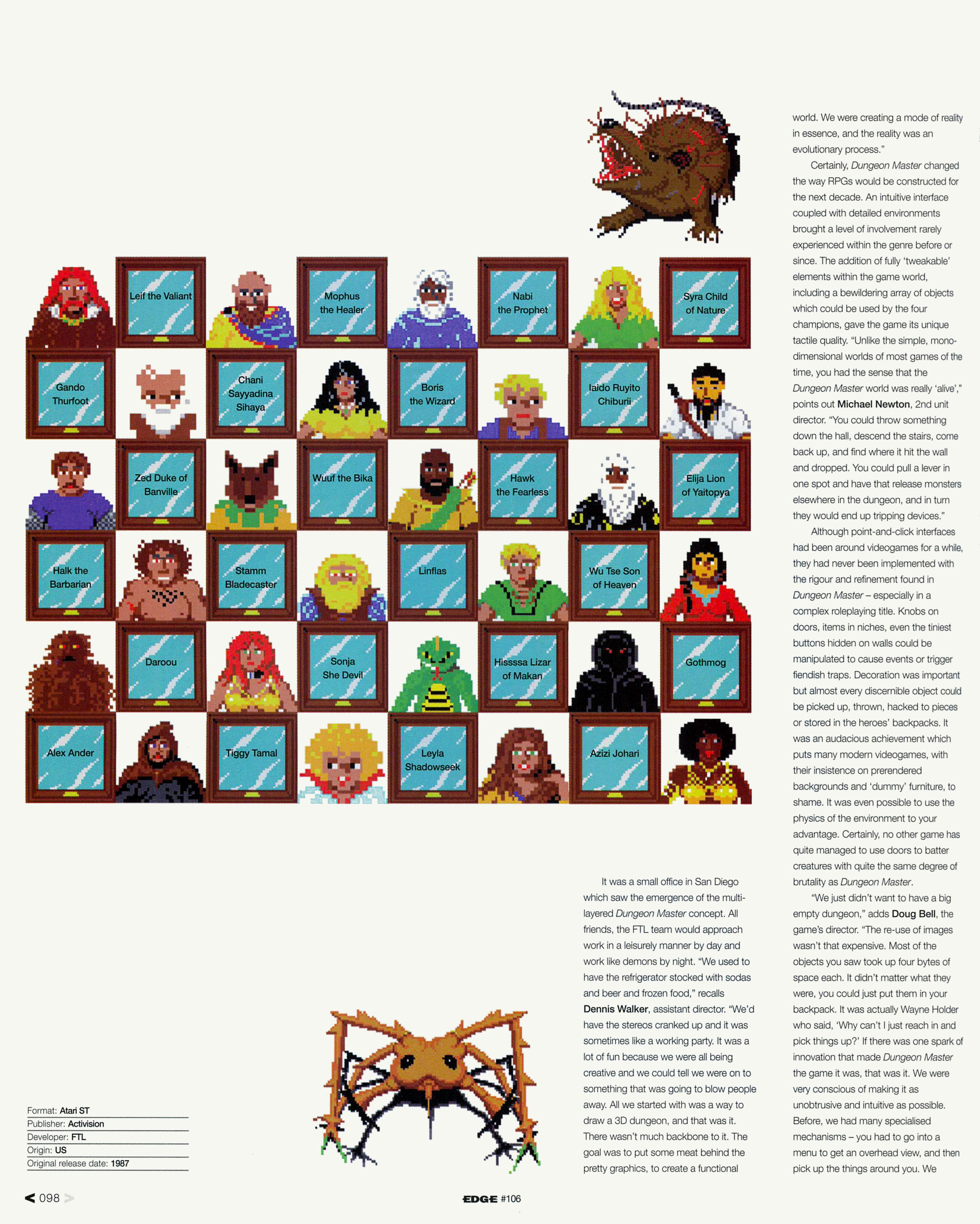 Dungeon Master Game Series Article published in British magazine 'Edge', Issue #106 January 2002, Page 98