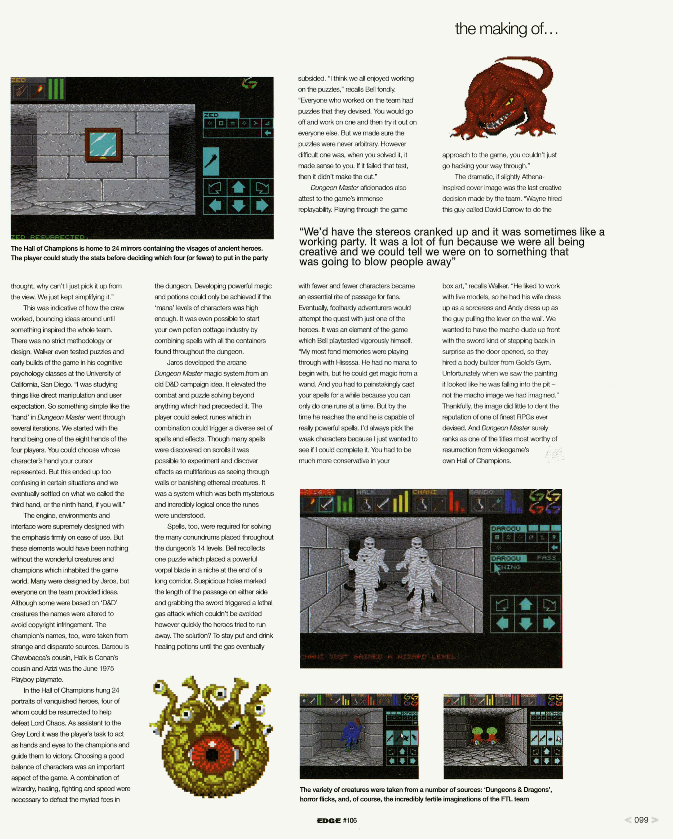 Dungeon Master Game Series Article published in British magazine 'Edge', Issue #106 January 2002, Page 99