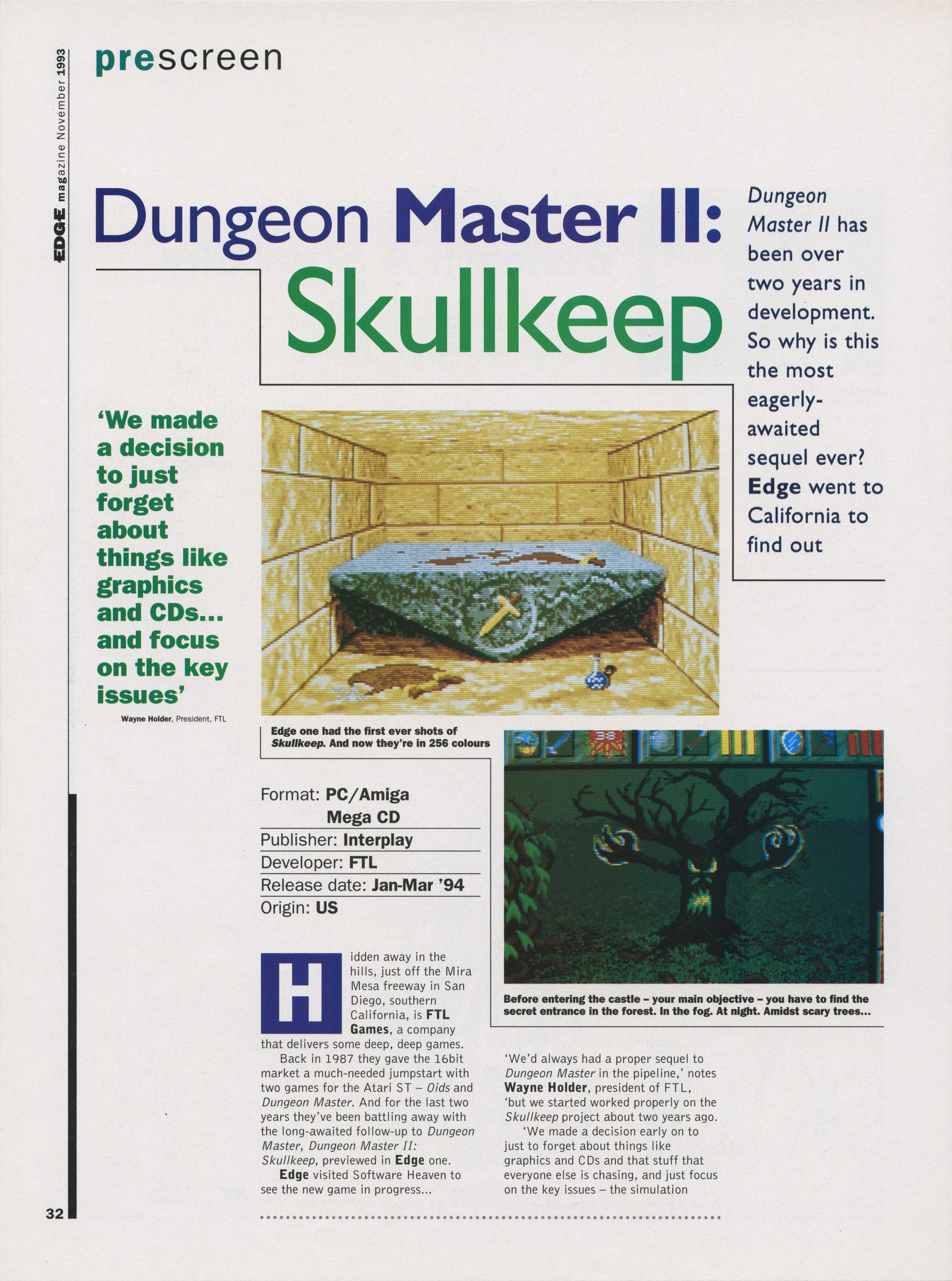 Dungeon Master II for PC Preview published in British magazine 'Edge', Issue #2 November 1993, Page 32