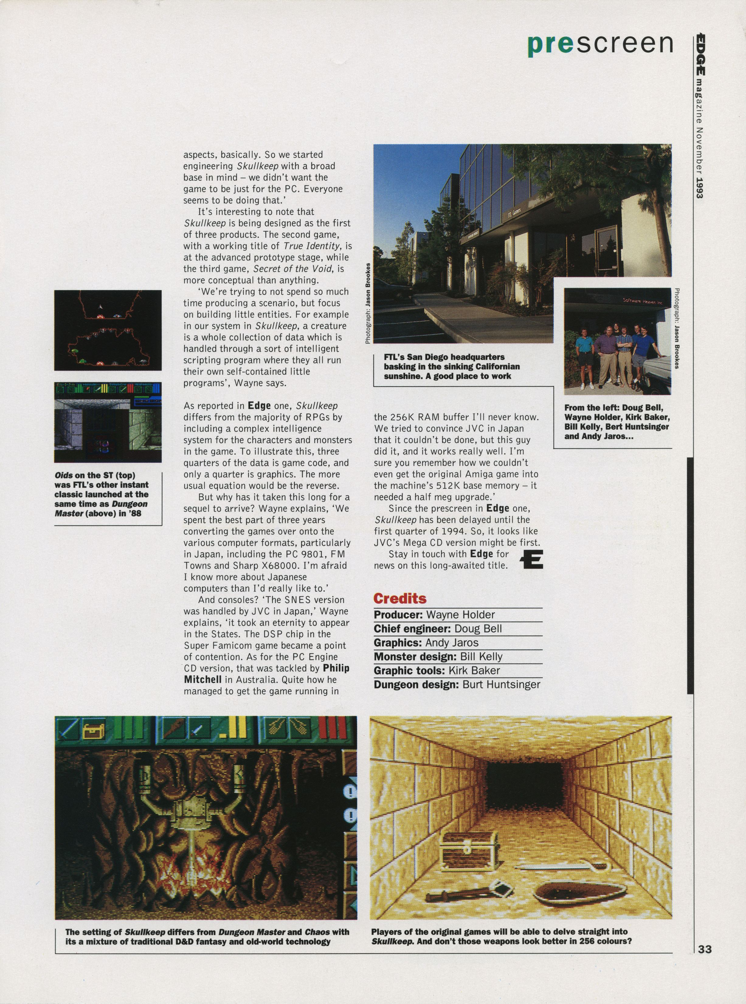 Dungeon Master II for PC Preview published in British magazine 'Edge', Issue #2 November 1993, Page 33