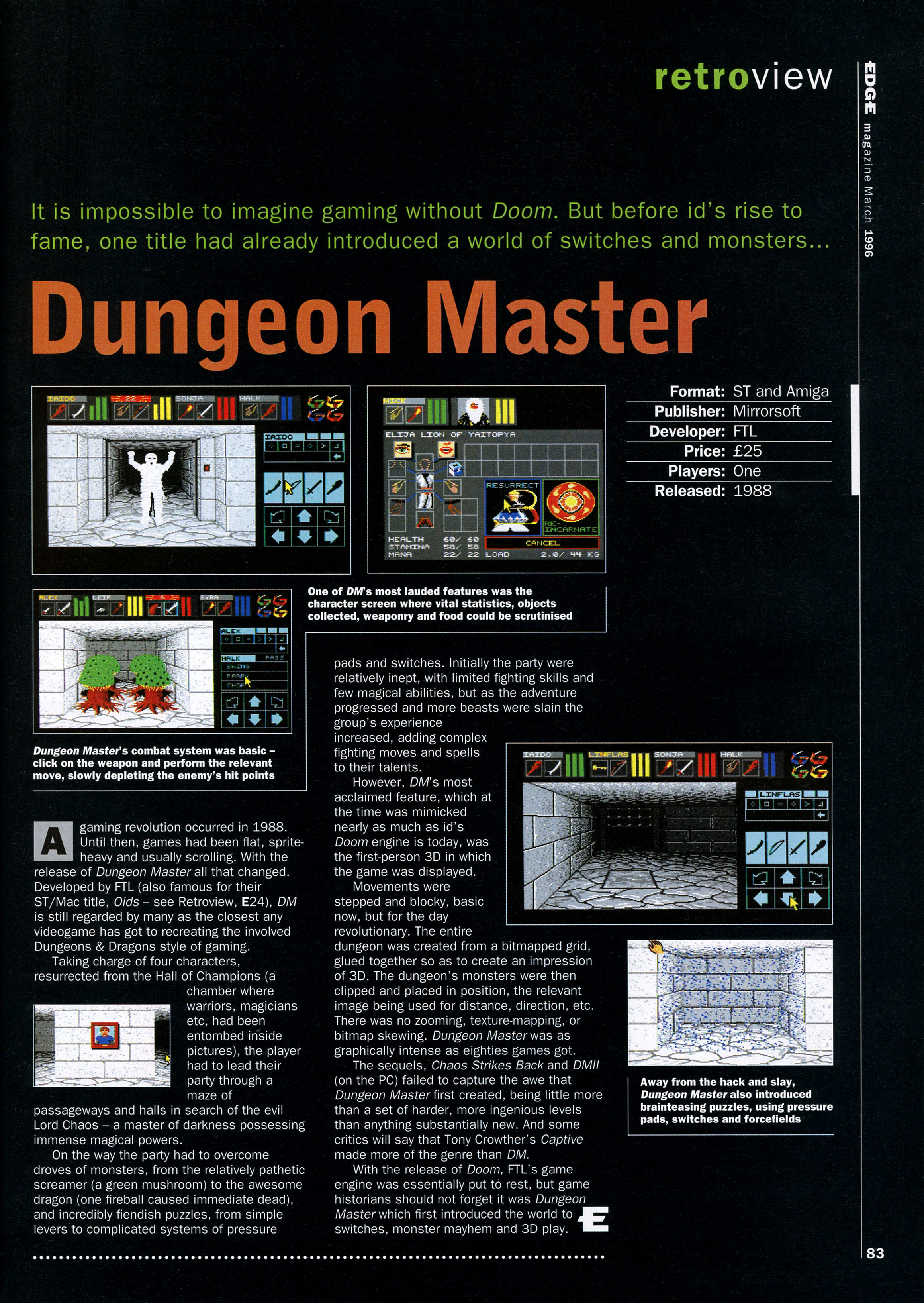 Dungeon Master for Atari ST-Amiga Review published in British magazine 'Edge', Issue #30 March 1996, Page 83