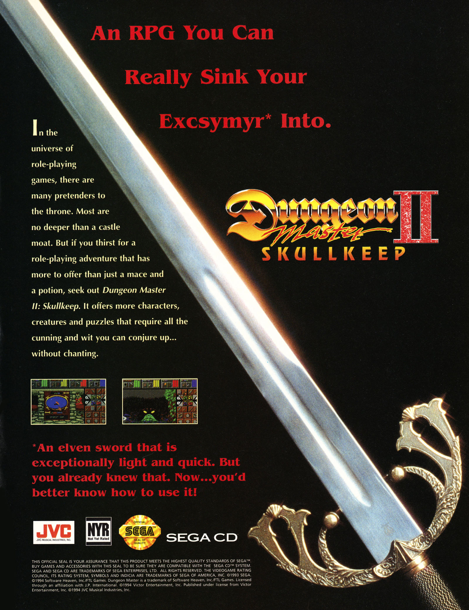 Dungeon Master II for Sega CD Advertisement published in American magazine 'Electronic Games', Vol 2 No 11 August 1994, Page 81