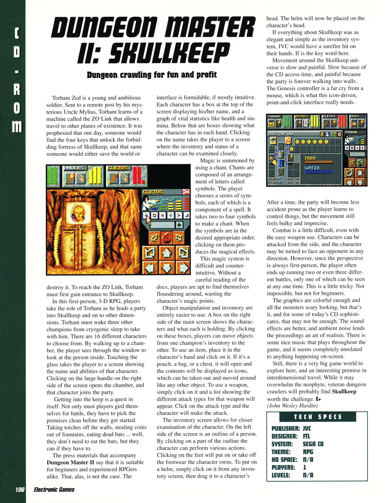 Dungeon Master II for Sega CD Review published in American magazine 'Electronic Games', Vol 2 No 11 August 1994, Page 106