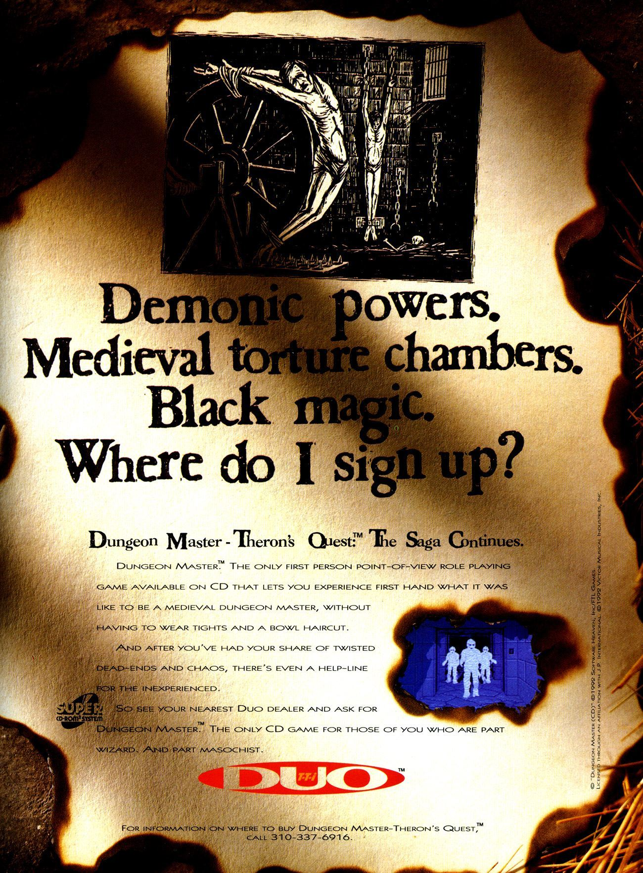 Theron's Quest Advertisement published in American magazine 'Electronic Gaming Monthly', Issue #47 Vol 6 No 6 June 1993, Page 77