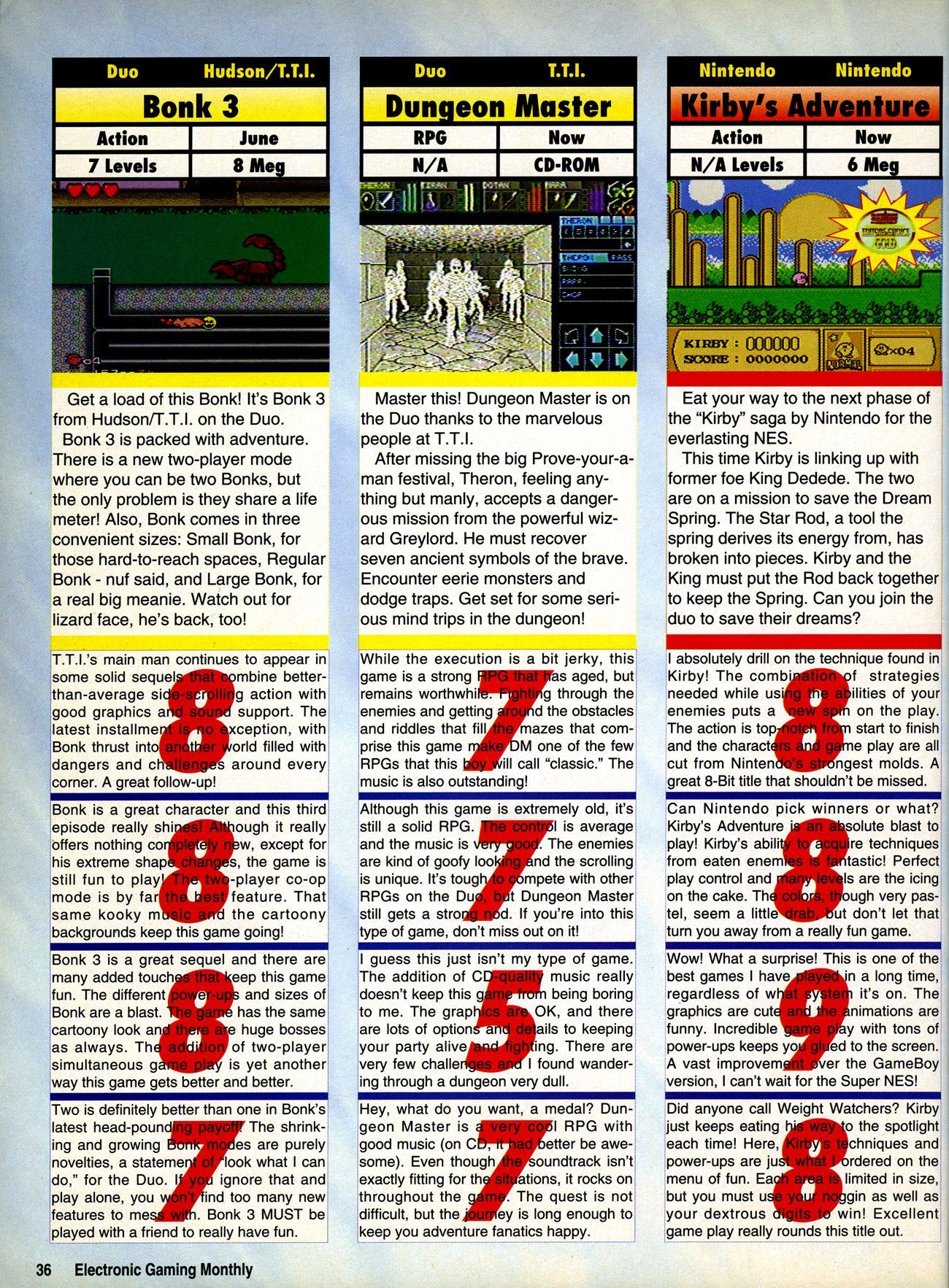 Theron's Quest Review published in American magazine 'Electronic Gaming Monthly', Issue #47 Vol 6 No 6 June 1993, Page 36