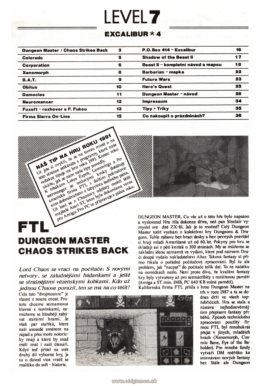 Dungeon Master And Chaos Strikes Back Review published in Czech magazine 'Excalibur', Issue #4 July 1991, Page 3